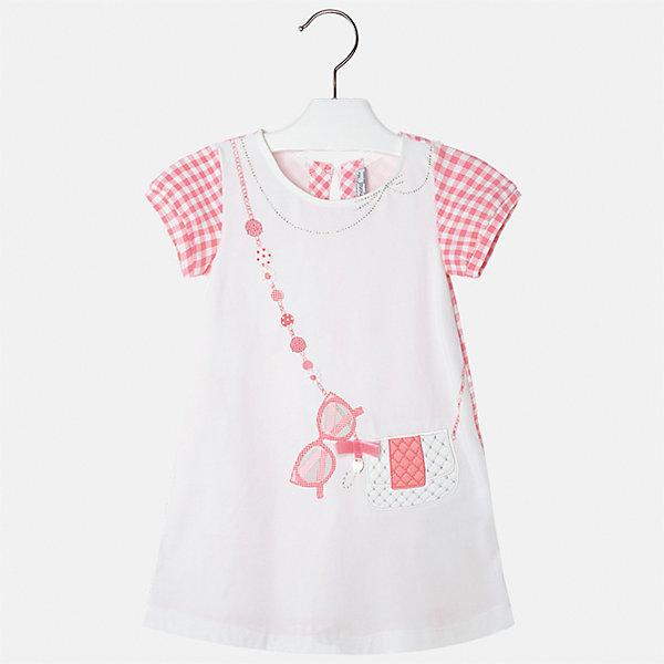 Платье для девочки MayoralПлатья и сарафаны<br>Характеристики товара:<br><br>• цвет: белый с розовым<br>• состав: 95% хлопок, 5% эластан<br>• застежка: молния<br>• короткие рукава <br>• декорировано принтом<br>• металлический логотип<br>• страна бренда: Испания<br><br>Нарядное платье для девочки поможет разнообразить гардероб ребенка и создать эффектный наряд. Оно подойдет для различных случаев. Красивый оттенок позволяет подобрать к вещи обувь разных расцветок. Платье хорошо сидит по фигуре и оригинально смотрится. В составе материала - натуральный хлопок, гипоаллергенный, приятный на ощупь, дышащий. <br><br>Одежда, обувь и аксессуары от испанского бренда Mayoral полюбились детям и взрослым по всему миру. Модели этой марки - стильные и удобные. Для их производства используются только безопасные, качественные материалы и фурнитура. Порадуйте ребенка модными и красивыми вещами от Mayoral! <br><br>Платье для девочки от испанского бренда Mayoral (Майорал) можно купить в нашем интернет-магазине.<br><br>Ширина мм: 236<br>Глубина мм: 16<br>Высота мм: 184<br>Вес г: 177<br>Цвет: оранжевый<br>Возраст от месяцев: 96<br>Возраст до месяцев: 108<br>Пол: Женский<br>Возраст: Детский<br>Размер: 134,92,128,122,116,110,104,98<br>SKU: 5291346