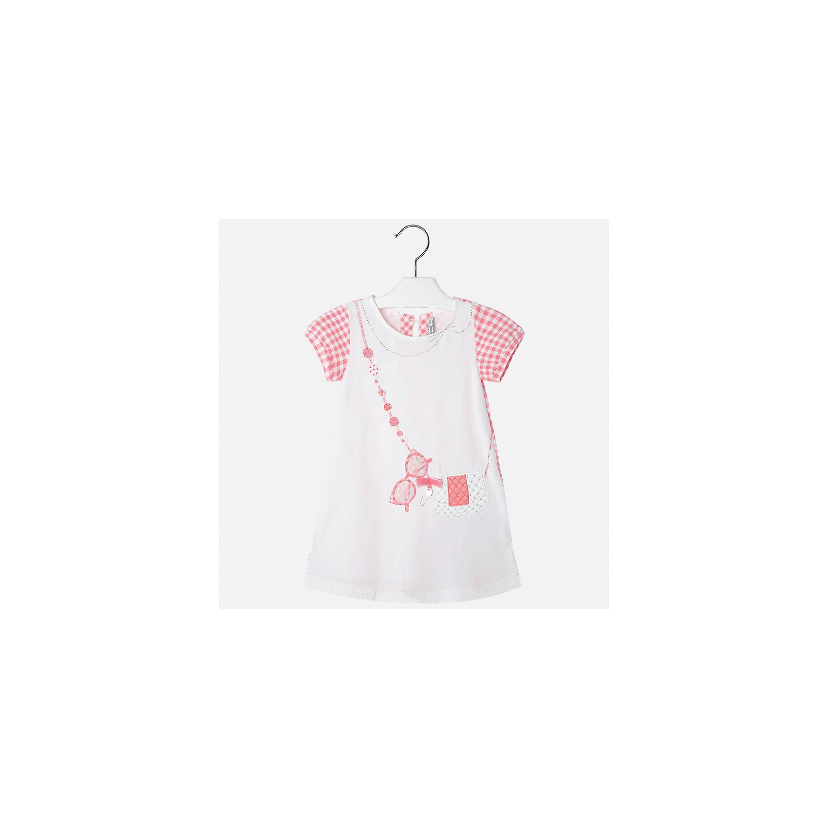 Платье для девочки MayoralПлатья и сарафаны<br>Характеристики товара:<br><br>• цвет: белый с розовым<br>• состав: 95% хлопок, 5% эластан<br>• застежка: молния<br>• короткие рукава <br>• декорировано принтом<br>• металлический логотип<br>• страна бренда: Испания<br><br>Нарядное платье для девочки поможет разнообразить гардероб ребенка и создать эффектный наряд. Оно подойдет для различных случаев. Красивый оттенок позволяет подобрать к вещи обувь разных расцветок. Платье хорошо сидит по фигуре и оригинально смотрится. В составе материала - натуральный хлопок, гипоаллергенный, приятный на ощупь, дышащий. <br><br>Одежда, обувь и аксессуары от испанского бренда Mayoral полюбились детям и взрослым по всему миру. Модели этой марки - стильные и удобные. Для их производства используются только безопасные, качественные материалы и фурнитура. Порадуйте ребенка модными и красивыми вещами от Mayoral! <br><br>Платье для девочки от испанского бренда Mayoral (Майорал) можно купить в нашем интернет-магазине.<br><br>Ширина мм: 236<br>Глубина мм: 16<br>Высота мм: 184<br>Вес г: 177<br>Цвет: оранжевый<br>Возраст от месяцев: 96<br>Возраст до месяцев: 108<br>Пол: Женский<br>Возраст: Детский<br>Размер: 134,92,98,104,110,116,122,128<br>SKU: 5291346