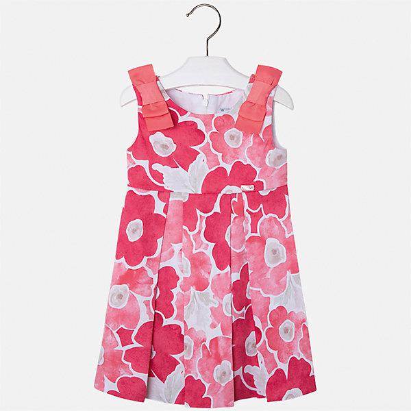 Платье для девочки MayoralПлатья и сарафаны<br>Характеристики товара:<br><br>• цвет: розовый<br>• состав: 97% хлопок, 3% эластан, подкладка - 50% полиэстер, 50% хлопок<br>• застежка: молния<br>• принт<br>• украшено бантами<br>• без рукавов<br>• с подкладкой<br>• страна бренда: Испания<br><br>Модное красивое платье для девочки поможет разнообразить гардероб ребенка и создать эффектный наряд. Оно отлично подойдет для торжественных случаев или на каждый день. Красивый оттенок позволяет подобрать к вещи обувь разных расцветок. В составе материала подкладки - натуральный хлопок, гипоаллергенный, приятный на ощупь, дышащий. Платье хорошо сидит по фигуре.<br><br>Одежда, обувь и аксессуары от испанского бренда Mayoral полюбились детям и взрослым по всему миру. Модели этой марки - стильные и удобные. Для их производства используются только безопасные, качественные материалы и фурнитура. Порадуйте ребенка модными и красивыми вещами от Mayoral! <br><br>Платье для девочки от испанского бренда Mayoral (Майорал) можно купить в нашем интернет-магазине.<br>Ширина мм: 236; Глубина мм: 16; Высота мм: 184; Вес г: 177; Цвет: оранжевый; Возраст от месяцев: 18; Возраст до месяцев: 24; Пол: Женский; Возраст: Детский; Размер: 92,134,128,122,116,110,104,98; SKU: 5291355;
