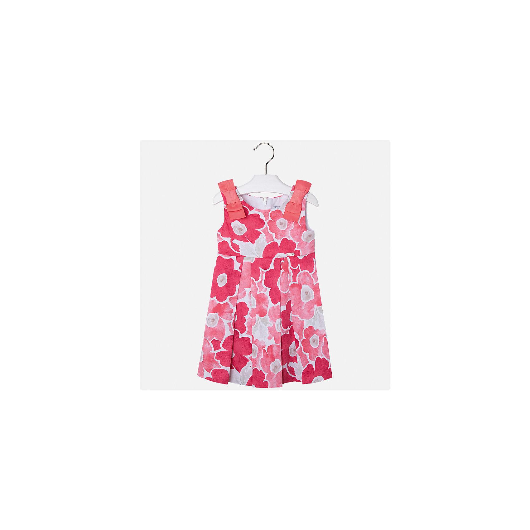 Платье для девочки MayoralПлатья и сарафаны<br>Характеристики товара:<br><br>• цвет: розовый<br>• состав: 97% хлопок, 3% эластан, подкладка - 50% полиэстер, 50% хлопок<br>• застежка: молния<br>• принт<br>• украшено бантами<br>• без рукавов<br>• с подкладкой<br>• страна бренда: Испания<br><br>Модное красивое платье для девочки поможет разнообразить гардероб ребенка и создать эффектный наряд. Оно отлично подойдет для торжественных случаев или на каждый день. Красивый оттенок позволяет подобрать к вещи обувь разных расцветок. В составе материала подкладки - натуральный хлопок, гипоаллергенный, приятный на ощупь, дышащий. Платье хорошо сидит по фигуре.<br><br>Одежда, обувь и аксессуары от испанского бренда Mayoral полюбились детям и взрослым по всему миру. Модели этой марки - стильные и удобные. Для их производства используются только безопасные, качественные материалы и фурнитура. Порадуйте ребенка модными и красивыми вещами от Mayoral! <br><br>Платье для девочки от испанского бренда Mayoral (Майорал) можно купить в нашем интернет-магазине.<br><br>Ширина мм: 236<br>Глубина мм: 16<br>Высота мм: 184<br>Вес г: 177<br>Цвет: оранжевый<br>Возраст от месяцев: 96<br>Возраст до месяцев: 108<br>Пол: Женский<br>Возраст: Детский<br>Размер: 134,92,98,104,110,116,122,128<br>SKU: 5291355