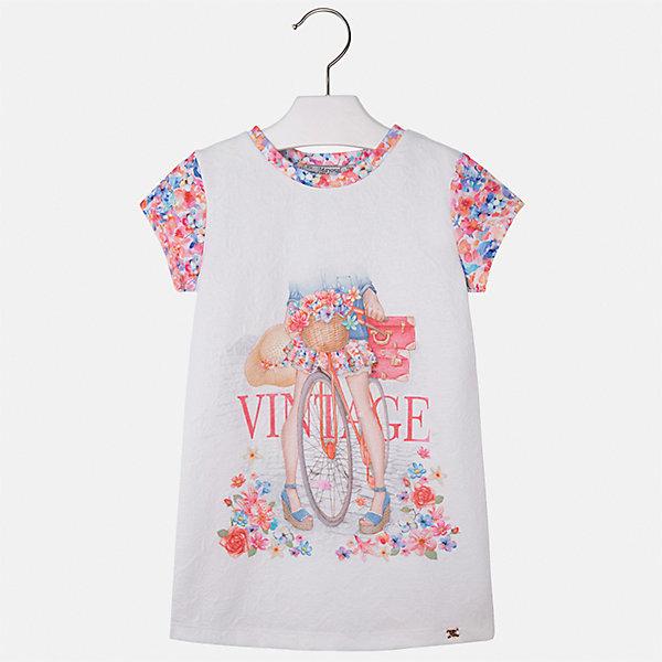 Платье для девочки MayoralЛетние платья и сарафаны<br>Характеристики товара:<br><br>• цвет: розовый/белый<br>• состав: 100% полиэстер<br>• без застежки<br>• принт<br>• короткие рукава<br>• без подкладки<br>• страна бренда: Испания<br><br>Модное красивое платье для девочки поможет разнообразить гардероб ребенка и создать эффектный наряд. Оно отлично подойдет для различных случаев. Красивый оттенок позволяет подобрать к вещи обувь разных расцветок. Платье хорошо сидит по фигуре.<br><br>Одежда, обувь и аксессуары от испанского бренда Mayoral полюбились детям и взрослым по всему миру. Модели этой марки - стильные и удобные. Для их производства используются только безопасные, качественные материалы и фурнитура. Порадуйте ребенка модными и красивыми вещами от Mayoral! <br><br>Платье для девочки от испанского бренда Mayoral (Майорал) можно купить в нашем интернет-магазине.<br><br>Ширина мм: 236<br>Глубина мм: 16<br>Высота мм: 184<br>Вес г: 177<br>Цвет: розовый<br>Возраст от месяцев: 48<br>Возраст до месяцев: 60<br>Пол: Женский<br>Возраст: Детский<br>Размер: 110,104,98,134,128,122,116<br>SKU: 5291399