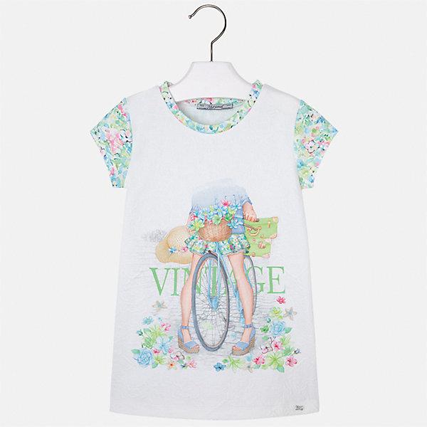 Платье для девочки MayoralПлатья и сарафаны<br>Характеристики товара:<br><br>• цвет: белый<br>• состав: 100% полиэстер<br>• без застежки<br>• принт<br>• короткие рукава<br>• без подкладки<br>• страна бренда: Испания<br><br>Модное красивое платье для девочки поможет разнообразить гардероб ребенка и создать эффектный наряд. Оно отлично подойдет для различных случаев. Красивый оттенок позволяет подобрать к вещи обувь разных расцветок. Платье хорошо сидит по фигуре.<br><br>Одежда, обувь и аксессуары от испанского бренда Mayoral полюбились детям и взрослым по всему миру. Модели этой марки - стильные и удобные. Для их производства используются только безопасные, качественные материалы и фурнитура. Порадуйте ребенка модными и красивыми вещами от Mayoral! <br><br>Платье для девочки от испанского бренда Mayoral (Майорал) можно купить в нашем интернет-магазине.<br><br>Ширина мм: 236<br>Глубина мм: 16<br>Высота мм: 184<br>Вес г: 177<br>Цвет: зеленый<br>Возраст от месяцев: 24<br>Возраст до месяцев: 36<br>Пол: Женский<br>Возраст: Детский<br>Размер: 98,134,128,122,116,110,104<br>SKU: 5291407