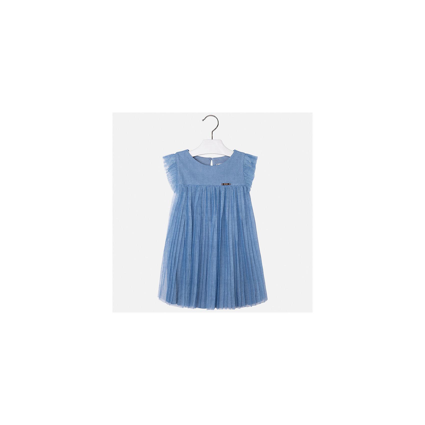 Платье для девочки MayoralОдежда<br>Характеристики товара:<br><br>• цвет: голубой<br>• состав: 100% полиэстер, подкладка - 100% вискоза<br>• завышенная талия<br>• плиссированный подол<br>• короткие рукава<br>• с подкладкой<br>• страна бренда: Испания<br><br>Модное красивое платье для девочки поможет разнообразить гардероб ребенка и создать эффектный наряд. Оно отлично подойдет для различных случаев. Красивый оттенок позволяет подобрать к вещи обувь разных расцветок. Платье хорошо сидит по фигуре.<br><br>Одежда, обувь и аксессуары от испанского бренда Mayoral полюбились детям и взрослым по всему миру. Модели этой марки - стильные и удобные. Для их производства используются только безопасные, качественные материалы и фурнитура. Порадуйте ребенка модными и красивыми вещами от Mayoral! <br><br>Платье для девочки от испанского бренда Mayoral (Майорал) можно купить в нашем интернет-магазине.<br><br>Ширина мм: 236<br>Глубина мм: 16<br>Высота мм: 184<br>Вес г: 177<br>Цвет: голубой<br>Возраст от месяцев: 24<br>Возраст до месяцев: 36<br>Пол: Женский<br>Возраст: Детский<br>Размер: 98,134,128,122,116,110,104<br>SKU: 5291439