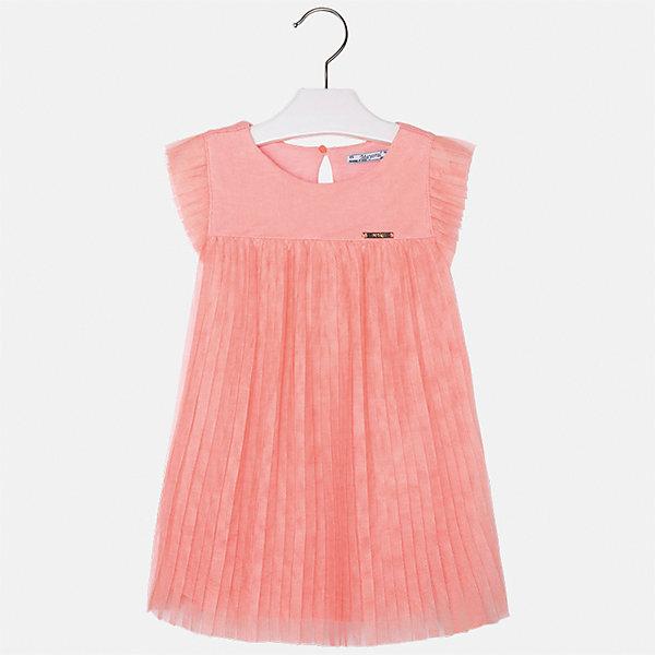 Платье для девочки MayoralОдежда<br>Характеристики товара:<br><br>• цвет: оранжевый<br>• состав: 100% полиэстер, подкладка - 100% вискоза<br>• завышенная талия<br>• плиссированный подол<br>• короткие рукава<br>• с подкладкой<br>• страна бренда: Испания<br><br>Модное красивое платье для девочки поможет разнообразить гардероб ребенка и создать эффектный наряд. Оно отлично подойдет для различных случаев. Красивый оттенок позволяет подобрать к вещи обувь разных расцветок. Платье хорошо сидит по фигуре.<br><br>Одежда, обувь и аксессуары от испанского бренда Mayoral полюбились детям и взрослым по всему миру. Модели этой марки - стильные и удобные. Для их производства используются только безопасные, качественные материалы и фурнитура. Порадуйте ребенка модными и красивыми вещами от Mayoral! <br><br>Платье для девочки от испанского бренда Mayoral (Майорал) можно купить в нашем интернет-магазине.<br>Ширина мм: 236; Глубина мм: 16; Высота мм: 184; Вес г: 177; Цвет: розовый; Возраст от месяцев: 96; Возраст до месяцев: 108; Пол: Женский; Возраст: Детский; Размер: 134,122,128,98,104,110,116; SKU: 5291447;