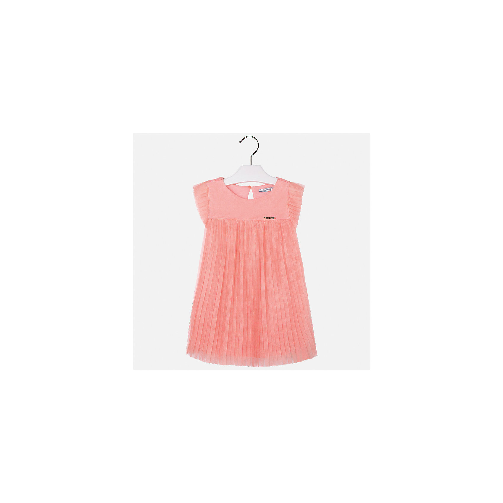 Платье для девочки MayoralОдежда<br>Характеристики товара:<br><br>• цвет: оранжевый<br>• состав: 100% полиэстер, подкладка - 100% вискоза<br>• завышенная талия<br>• плиссированный подол<br>• короткие рукава<br>• с подкладкой<br>• страна бренда: Испания<br><br>Модное красивое платье для девочки поможет разнообразить гардероб ребенка и создать эффектный наряд. Оно отлично подойдет для различных случаев. Красивый оттенок позволяет подобрать к вещи обувь разных расцветок. Платье хорошо сидит по фигуре.<br><br>Одежда, обувь и аксессуары от испанского бренда Mayoral полюбились детям и взрослым по всему миру. Модели этой марки - стильные и удобные. Для их производства используются только безопасные, качественные материалы и фурнитура. Порадуйте ребенка модными и красивыми вещами от Mayoral! <br><br>Платье для девочки от испанского бренда Mayoral (Майорал) можно купить в нашем интернет-магазине.<br><br>Ширина мм: 236<br>Глубина мм: 16<br>Высота мм: 184<br>Вес г: 177<br>Цвет: розовый<br>Возраст от месяцев: 96<br>Возраст до месяцев: 108<br>Пол: Женский<br>Возраст: Детский<br>Размер: 134,98,104,110,116,122,128<br>SKU: 5291447
