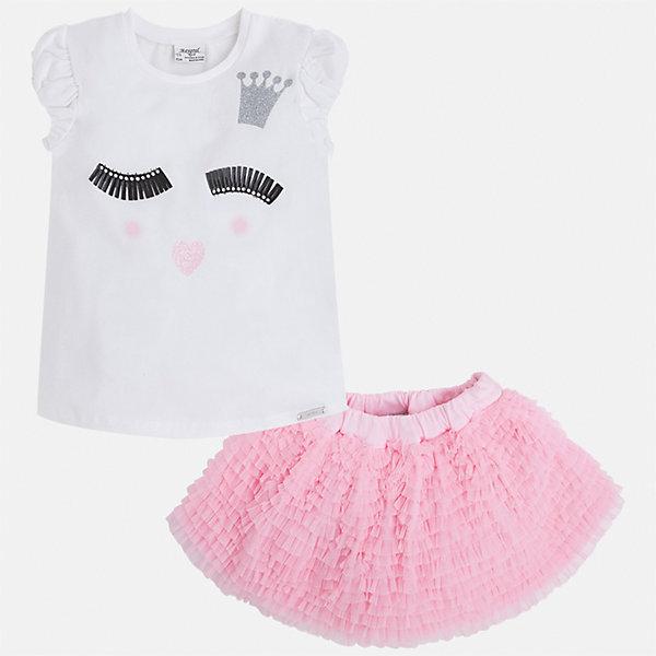 Комплект: топ и юбка для девочки MayoralКомплекты<br>Характеристики товара:<br><br>• цвет: белый/розовый<br>• состав: 57% хлопок, 38% полиэстер, 5% эластан<br>• комплектация: юбка, топ<br>• топ декорирован принтом<br>• юбка с рюшами<br>• пояс на резинке<br>• страна бренда: Испания<br><br>Стильный качественный комплект для девочки поможет разнообразить гардероб ребенка и красиво одеться в теплую погоду. Он отлично сочетается с другими предметами. Универсальный цвет позволяет подобрать к вещам обувь практически любой расцветки. Интересная отделка модели делает её нарядной и оригинальной. В составе материала - натуральный хлопок, гипоаллергенный, приятный на ощупь, дышащий.<br><br>Одежда, обувь и аксессуары от испанского бренда Mayoral полюбились детям и взрослым по всему миру. Модели этой марки - стильные и удобные. Для их производства используются только безопасные, качественные материалы и фурнитура. Порадуйте ребенка модными и красивыми вещами от Mayoral! <br><br>Комплект для девочки от испанского бренда Mayoral (Майорал) можно купить в нашем интернет-магазине.<br><br>Ширина мм: 207<br>Глубина мм: 10<br>Высота мм: 189<br>Вес г: 183<br>Цвет: розовый<br>Возраст от месяцев: 24<br>Возраст до месяцев: 36<br>Пол: Женский<br>Возраст: Детский<br>Размер: 98,116,122,128,134,104,110<br>SKU: 5291455