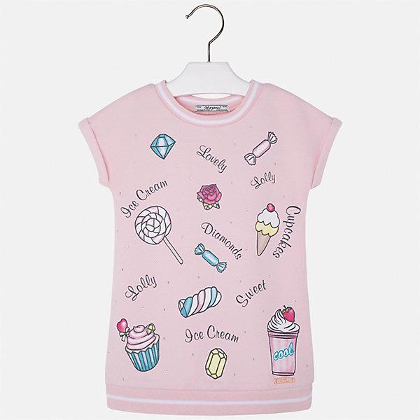 Платье для девочки MayoralЛетние платья и сарафаны<br>Характеристики товара:<br><br>• цвет: розовый<br>• состав: 57% хлопок, 38% полиэстер, 5% эластан<br>• без застежки<br>• принт<br>• короткие рукава<br>• без подкладки<br>• страна бренда: Испания<br><br>Модное красивое платье для девочки поможет разнообразить гардероб ребенка и создать эффектный наряд. Оно отлично подойдет для различных случаев. Красивый оттенок позволяет подобрать к вещи обувь разных расцветок. Платье хорошо сидит по фигуре.<br><br>Одежда, обувь и аксессуары от испанского бренда Mayoral полюбились детям и взрослым по всему миру. Модели этой марки - стильные и удобные. Для их производства используются только безопасные, качественные материалы и фурнитура. Порадуйте ребенка модными и красивыми вещами от Mayoral! <br><br>Платье для девочки от испанского бренда Mayoral (Майорал) можно купить в нашем интернет-магазине.<br><br>Ширина мм: 236<br>Глубина мм: 16<br>Высота мм: 184<br>Вес г: 177<br>Цвет: розовый<br>Возраст от месяцев: 96<br>Возраст до месяцев: 108<br>Пол: Женский<br>Возраст: Детский<br>Размер: 134,92,128,122,116,110,104,98<br>SKU: 5291471