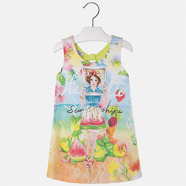 Платье для девочки MayoralЛетние платья и сарафаны<br>Характеристики товара:<br><br>• цвет: мультиколор/зеленый<br>• состав: 92% хлопок, 8% эластан<br>• без застежки<br>• принт<br>• без рукавов<br>• без подкладки<br>• страна бренда: Испания<br><br>Модное красивое платье для девочки поможет разнообразить гардероб ребенка и создать эффектный наряд. Оно отлично подойдет для различных случаев. Красивый оттенок позволяет подобрать к вещи обувь разных расцветок. Платье хорошо сидит по фигуре. . В составе материала - натуральный хлопок, гипоаллергенный, приятный на ощупь, дышащий.<br><br>Одежда, обувь и аксессуары от испанского бренда Mayoral полюбились детям и взрослым по всему миру. Модели этой марки - стильные и удобные. Для их производства используются только безопасные, качественные материалы и фурнитура. Порадуйте ребенка модными и красивыми вещами от Mayoral! <br><br>Платье для девочки от испанского бренда Mayoral (Майорал) можно купить в нашем интернет-магазине.<br>Ширина мм: 236; Глубина мм: 16; Высота мм: 184; Вес г: 177; Цвет: зеленый; Возраст от месяцев: 48; Возраст до месяцев: 60; Пол: Женский; Возраст: Детский; Размер: 110,92,134,128,122,116,104,98; SKU: 5291489;