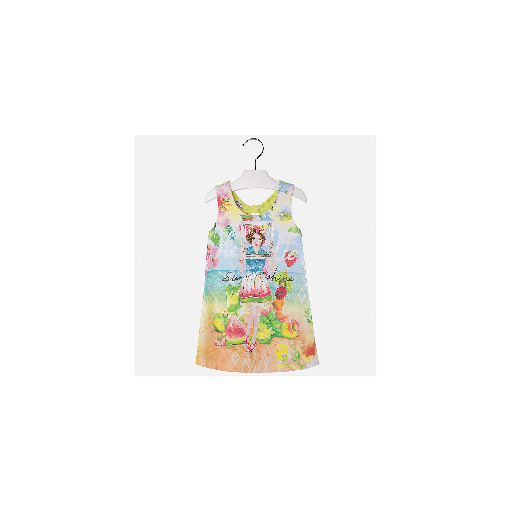 Платье для девочки MayoralЛетние платья и сарафаны<br>Характеристики товара:<br><br>• цвет: мультиколор/зеленый<br>• состав: 92% хлопок, 8% эластан<br>• без застежки<br>• принт<br>• без рукавов<br>• без подкладки<br>• страна бренда: Испания<br><br>Модное красивое платье для девочки поможет разнообразить гардероб ребенка и создать эффектный наряд. Оно отлично подойдет для различных случаев. Красивый оттенок позволяет подобрать к вещи обувь разных расцветок. Платье хорошо сидит по фигуре. . В составе материала - натуральный хлопок, гипоаллергенный, приятный на ощупь, дышащий.<br><br>Одежда, обувь и аксессуары от испанского бренда Mayoral полюбились детям и взрослым по всему миру. Модели этой марки - стильные и удобные. Для их производства используются только безопасные, качественные материалы и фурнитура. Порадуйте ребенка модными и красивыми вещами от Mayoral! <br><br>Платье для девочки от испанского бренда Mayoral (Майорал) можно купить в нашем интернет-магазине.<br><br>Ширина мм: 236<br>Глубина мм: 16<br>Высота мм: 184<br>Вес г: 177<br>Цвет: зеленый<br>Возраст от месяцев: 96<br>Возраст до месяцев: 108<br>Пол: Женский<br>Возраст: Детский<br>Размер: 98,104,110,128,116,122,134,92<br>SKU: 5291489