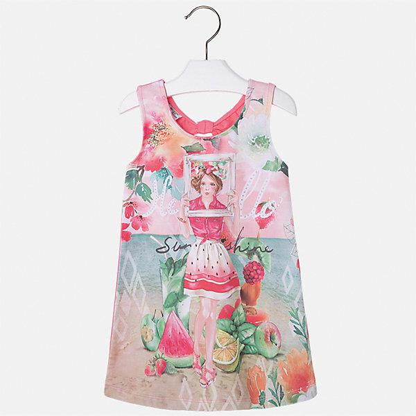 Платье для девочки MayoralЛетние платья и сарафаны<br>Характеристики товара:<br><br>• цвет: розовый<br>• состав: 92% хлопок, 8% эластан<br>• без застежки<br>• принт<br>• без рукавов<br>• без подкладки<br>• страна бренда: Испания<br><br>Модное красивое платье для девочки поможет разнообразить гардероб ребенка и создать эффектный наряд. Оно отлично подойдет для различных случаев. Красивый оттенок позволяет подобрать к вещи обувь разных расцветок. Платье хорошо сидит по фигуре. . В составе материала - натуральный хлопок, гипоаллергенный, приятный на ощупь, дышащий.<br><br>Одежда, обувь и аксессуары от испанского бренда Mayoral полюбились детям и взрослым по всему миру. Модели этой марки - стильные и удобные. Для их производства используются только безопасные, качественные материалы и фурнитура. Порадуйте ребенка модными и красивыми вещами от Mayoral! <br><br>Платье для девочки от испанского бренда Mayoral (Майорал) можно купить в нашем интернет-магазине.<br>Ширина мм: 236; Глубина мм: 16; Высота мм: 184; Вес г: 177; Цвет: оранжевый; Возраст от месяцев: 18; Возраст до месяцев: 24; Пол: Женский; Возраст: Детский; Размер: 92,134,128,122,116,110,104,98; SKU: 5291498;