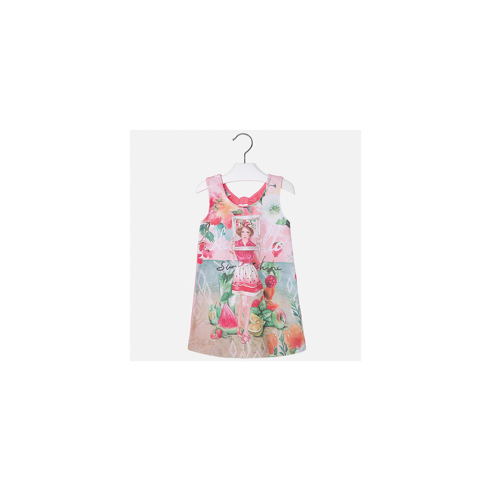 Платье для девочки MayoralПлатья и сарафаны<br>Характеристики товара:<br><br>• цвет: розовый<br>• состав: 92% хлопок, 8% эластан<br>• без застежки<br>• принт<br>• без рукавов<br>• без подкладки<br>• страна бренда: Испания<br><br>Модное красивое платье для девочки поможет разнообразить гардероб ребенка и создать эффектный наряд. Оно отлично подойдет для различных случаев. Красивый оттенок позволяет подобрать к вещи обувь разных расцветок. Платье хорошо сидит по фигуре. . В составе материала - натуральный хлопок, гипоаллергенный, приятный на ощупь, дышащий.<br><br>Одежда, обувь и аксессуары от испанского бренда Mayoral полюбились детям и взрослым по всему миру. Модели этой марки - стильные и удобные. Для их производства используются только безопасные, качественные материалы и фурнитура. Порадуйте ребенка модными и красивыми вещами от Mayoral! <br><br>Платье для девочки от испанского бренда Mayoral (Майорал) можно купить в нашем интернет-магазине.<br><br>Ширина мм: 236<br>Глубина мм: 16<br>Высота мм: 184<br>Вес г: 177<br>Цвет: оранжевый<br>Возраст от месяцев: 18<br>Возраст до месяцев: 24<br>Пол: Женский<br>Возраст: Детский<br>Размер: 92,134,98,104,110,116,122,128<br>SKU: 5291498