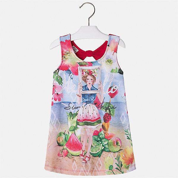 Платье для девочки MayoralЛетние платья и сарафаны<br>Характеристики товара:<br><br>• цвет: мультиколор/красный<br>• состав: 92% хлопок, 8% эластан<br>• без застежки<br>• принт<br>• без рукавов<br>• без подкладки<br>• страна бренда: Испания<br><br>Модное красивое платье для девочки поможет разнообразить гардероб ребенка и создать эффектный наряд. Оно отлично подойдет для различных случаев. Красивый оттенок позволяет подобрать к вещи обувь разных расцветок. Платье хорошо сидит по фигуре. . В составе материала - натуральный хлопок, гипоаллергенный, приятный на ощупь, дышащий.<br><br>Одежда, обувь и аксессуары от испанского бренда Mayoral полюбились детям и взрослым по всему миру. Модели этой марки - стильные и удобные. Для их производства используются только безопасные, качественные материалы и фурнитура. Порадуйте ребенка модными и красивыми вещами от Mayoral! <br><br>Платье для девочки от испанского бренда Mayoral (Майорал) можно купить в нашем интернет-магазине.<br><br>Ширина мм: 236<br>Глубина мм: 16<br>Высота мм: 184<br>Вес г: 177<br>Цвет: красный<br>Возраст от месяцев: 18<br>Возраст до месяцев: 24<br>Пол: Женский<br>Возраст: Детский<br>Размер: 92,134,128,122,116,110,104,98<br>SKU: 5291507