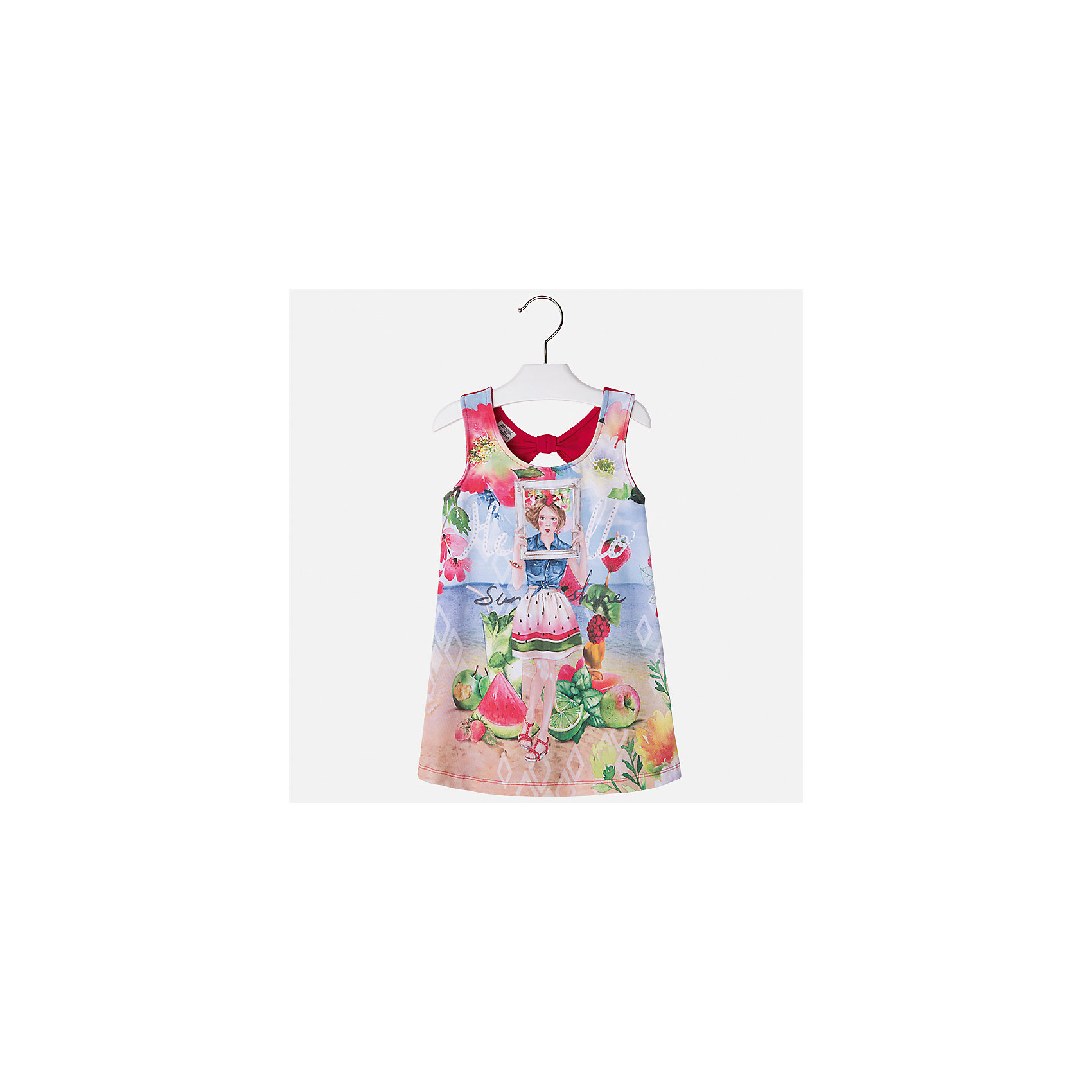 Платье для девочки MayoralПлатья и сарафаны<br>Характеристики товара:<br><br>• цвет: мультиколор/красный<br>• состав: 92% хлопок, 8% эластан<br>• без застежки<br>• принт<br>• без рукавов<br>• без подкладки<br>• страна бренда: Испания<br><br>Модное красивое платье для девочки поможет разнообразить гардероб ребенка и создать эффектный наряд. Оно отлично подойдет для различных случаев. Красивый оттенок позволяет подобрать к вещи обувь разных расцветок. Платье хорошо сидит по фигуре. . В составе материала - натуральный хлопок, гипоаллергенный, приятный на ощупь, дышащий.<br><br>Одежда, обувь и аксессуары от испанского бренда Mayoral полюбились детям и взрослым по всему миру. Модели этой марки - стильные и удобные. Для их производства используются только безопасные, качественные материалы и фурнитура. Порадуйте ребенка модными и красивыми вещами от Mayoral! <br><br>Платье для девочки от испанского бренда Mayoral (Майорал) можно купить в нашем интернет-магазине.<br><br>Ширина мм: 236<br>Глубина мм: 16<br>Высота мм: 184<br>Вес г: 177<br>Цвет: красный<br>Возраст от месяцев: 96<br>Возраст до месяцев: 108<br>Пол: Женский<br>Возраст: Детский<br>Размер: 134,92,98,104,110,116,122,128<br>SKU: 5291507