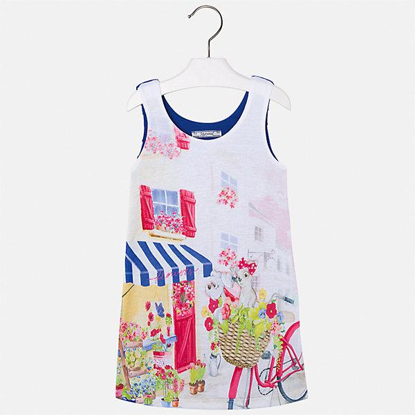 Платье для девочки MayoralПлатья и сарафаны<br>Характеристики товара:<br><br>• цвет: белый/синий<br>• состав: 92% хлопок, 8% эластан, подкладка - 100% полиэстер<br>• плисированное сзади<br>• без застежки<br>• принт<br>• без рукавов<br>• с подкладкой<br>• страна бренда: Испания<br><br>Модное красивое платье для девочки поможет разнообразить гардероб ребенка и создать эффектный наряд. Оно отлично подойдет для различных случаев. Красивый оттенок позволяет подобрать к вещи обувь разных расцветок. Платье хорошо сидит по фигуре. . В составе материала - натуральный хлопок, гипоаллергенный, приятный на ощупь, дышащий.<br><br>Одежда, обувь и аксессуары от испанского бренда Mayoral полюбились детям и взрослым по всему миру. Модели этой марки - стильные и удобные. Для их производства используются только безопасные, качественные материалы и фурнитура. Порадуйте ребенка модными и красивыми вещами от Mayoral! <br><br>Платье для девочки от испанского бренда Mayoral (Майорал) можно купить в нашем интернет-магазине.<br><br>Ширина мм: 236<br>Глубина мм: 16<br>Высота мм: 184<br>Вес г: 177<br>Цвет: синий<br>Возраст от месяцев: 24<br>Возраст до месяцев: 36<br>Пол: Женский<br>Возраст: Детский<br>Размер: 98,116,110,104,122<br>SKU: 5292464