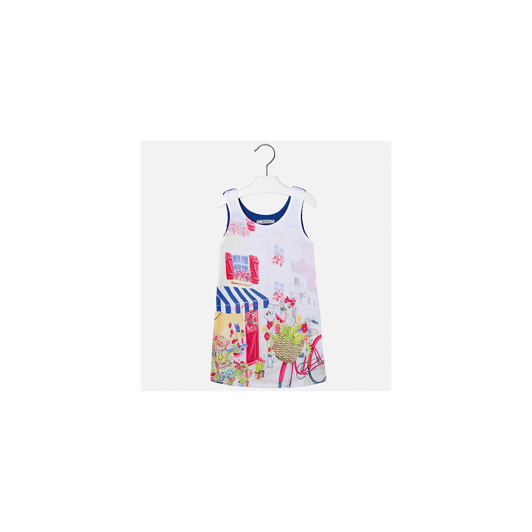 Платье для девочки MayoralХарактеристики товара:<br><br>• цвет: белый/синий<br>• состав: 92% хлопок, 8% эластан, подкладка - 100% полиэстер<br>• плисированное сзади<br>• без застежки<br>• принт<br>• без рукавов<br>• с подкладкой<br>• страна бренда: Испания<br><br>Модное красивое платье для девочки поможет разнообразить гардероб ребенка и создать эффектный наряд. Оно отлично подойдет для различных случаев. Красивый оттенок позволяет подобрать к вещи обувь разных расцветок. Платье хорошо сидит по фигуре. . В составе материала - натуральный хлопок, гипоаллергенный, приятный на ощупь, дышащий.<br><br>Одежда, обувь и аксессуары от испанского бренда Mayoral полюбились детям и взрослым по всему миру. Модели этой марки - стильные и удобные. Для их производства используются только безопасные, качественные материалы и фурнитура. Порадуйте ребенка модными и красивыми вещами от Mayoral! <br><br>Платье для девочки от испанского бренда Mayoral (Майорал) можно купить в нашем интернет-магазине.<br><br>Ширина мм: 236<br>Глубина мм: 16<br>Высота мм: 184<br>Вес г: 177<br>Цвет: синий<br>Возраст от месяцев: 72<br>Возраст до месяцев: 84<br>Пол: Женский<br>Возраст: Детский<br>Размер: 122,98,104,110,116<br>SKU: 5292464