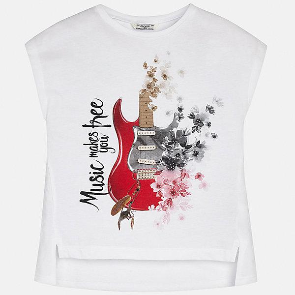 Футболка для девочки MayoralФутболки, поло и топы<br>Характеристики товара:<br><br>• цвет: белый<br>• состав: 50% хлопок, 50% полиэстер<br>• удлиненная спинка<br>• декорирована принтом<br>• без рукавов <br>• округлый горловой вырез<br>• страна бренда: Испания<br><br>Стильная качественная футболка для девочки поможет разнообразить гардероб ребенка и украсить наряд. Она отлично сочетается и с юбками, и с шортами, и с брюками. Универсальный цвет позволяет подобрать к вещи низ практически любой расцветки. Интересная отделка модели делает её нарядной и оригинальной. В составе материала есть натуральный хлопок, гипоаллергенный, приятный на ощупь, дышащий.<br><br>Одежда, обувь и аксессуары от испанского бренда Mayoral полюбились детям и взрослым по всему миру. Модели этой марки - стильные и удобные. Для их производства используются только безопасные, качественные материалы и фурнитура. Порадуйте ребенка модными и красивыми вещами от Mayoral! <br><br>Футболку для девочки от испанского бренда Mayoral (Майорал) можно купить в нашем интернет-магазине.<br><br>Ширина мм: 199<br>Глубина мм: 10<br>Высота мм: 161<br>Вес г: 151<br>Цвет: белый<br>Возраст от месяцев: 156<br>Возраст до месяцев: 168<br>Пол: Женский<br>Возраст: Детский<br>Размер: 164,128/134,170,158,152,140<br>SKU: 5292477