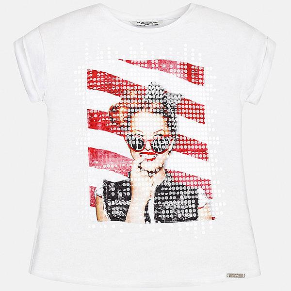 Футболка для девочки MayoralФутболки, поло и топы<br>Характеристики товара:<br><br>• цвет: белый<br>• состав: 95% вискоза, 5% эластан<br>• декорирована принтом<br>• короткие рукава<br>• округлый горловой вырез<br>• страна бренда: Испания<br><br>Стильная качественная футболка для девочки поможет разнообразить гардероб ребенка и украсить наряд. Она отлично сочетается и с юбками, и с шортами, и с брюками. Универсальный цвет позволяет подобрать к вещи низ практически любой расцветки. Интересная отделка модели делает её нарядной и оригинальной. <br><br>Одежда, обувь и аксессуары от испанского бренда Mayoral полюбились детям и взрослым по всему миру. Модели этой марки - стильные и удобные. Для их производства используются только безопасные, качественные материалы и фурнитура. Порадуйте ребенка модными и красивыми вещами от Mayoral! <br><br>Футболку для девочки от испанского бренда Mayoral (Майорал) можно купить в нашем интернет-магазине.<br><br>Ширина мм: 199<br>Глубина мм: 10<br>Высота мм: 161<br>Вес г: 151<br>Цвет: белый<br>Возраст от месяцев: 84<br>Возраст до месяцев: 96<br>Пол: Женский<br>Возраст: Детский<br>Размер: 128/134,170,164,158,152,140<br>SKU: 5292498