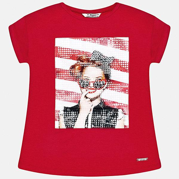 Футболка для девочки MayoralФутболки, поло и топы<br>Характеристики товара:<br><br>• цвет: красный<br>• состав: 95% вискоза, 5% эластан<br>• декорирована принтом<br>• короткие рукава<br>• округлый горловой вырез<br>• страна бренда: Испания<br><br>Стильная качественная футболка для девочки поможет разнообразить гардероб ребенка и украсить наряд. Она отлично сочетается и с юбками, и с шортами, и с брюками. Универсальный цвет позволяет подобрать к вещи низ практически любой расцветки. Интересная отделка модели делает её нарядной и оригинальной. <br><br>Одежда, обувь и аксессуары от испанского бренда Mayoral полюбились детям и взрослым по всему миру. Модели этой марки - стильные и удобные. Для их производства используются только безопасные, качественные материалы и фурнитура. Порадуйте ребенка модными и красивыми вещами от Mayoral! <br><br>Футболку для девочки от испанского бренда Mayoral (Майорал) можно купить в нашем интернет-магазине.<br>Ширина мм: 199; Глубина мм: 10; Высота мм: 161; Вес г: 151; Цвет: красный; Возраст от месяцев: 156; Возраст до месяцев: 168; Пол: Женский; Возраст: Детский; Размер: 164,128/134,170,158,152,140; SKU: 5292505;