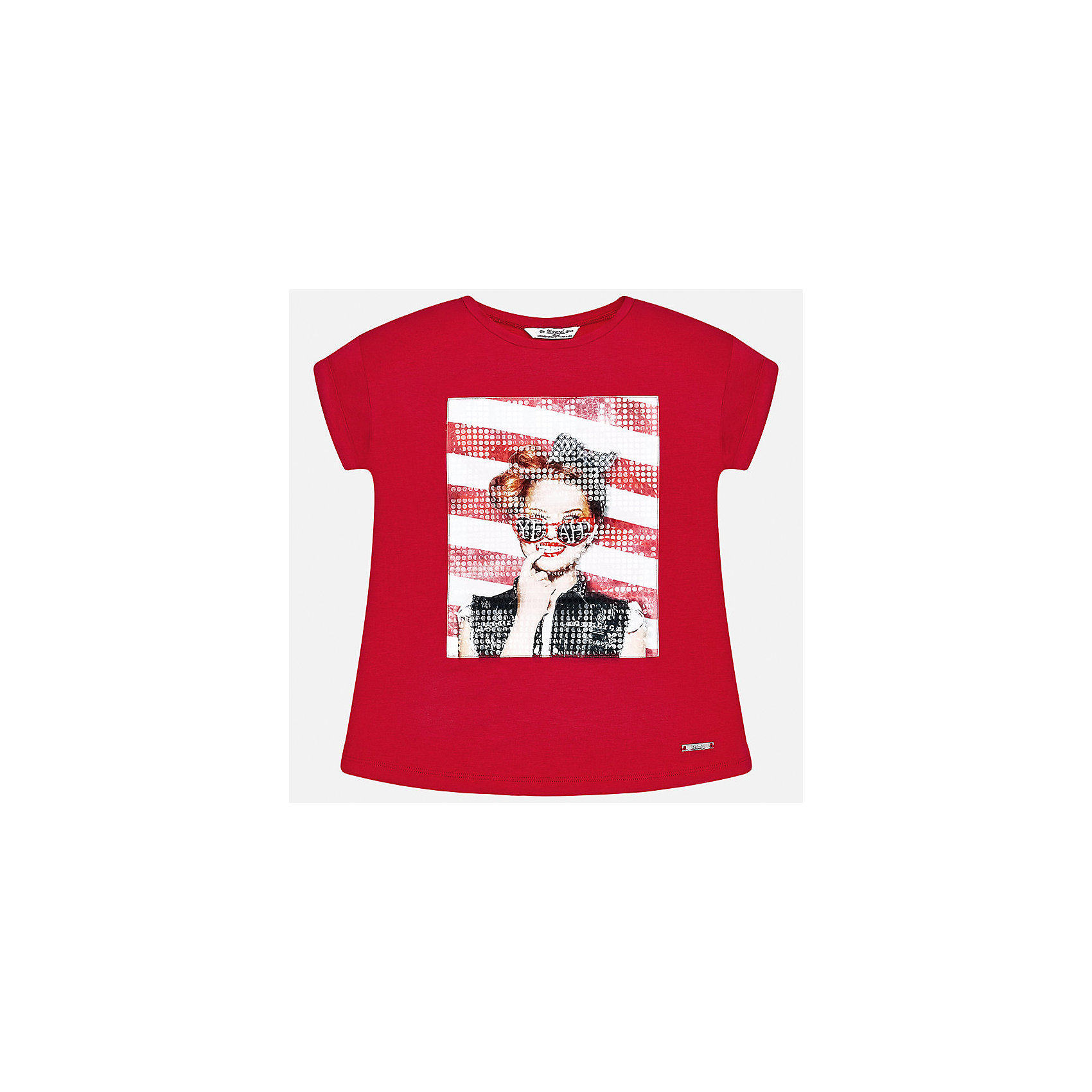Футболка для девочки MayoralФутболки, поло и топы<br>Характеристики товара:<br><br>• цвет: красный<br>• состав: 95% вискоза, 5% эластан<br>• декорирована принтом<br>• короткие рукава<br>• округлый горловой вырез<br>• страна бренда: Испания<br><br>Стильная качественная футболка для девочки поможет разнообразить гардероб ребенка и украсить наряд. Она отлично сочетается и с юбками, и с шортами, и с брюками. Универсальный цвет позволяет подобрать к вещи низ практически любой расцветки. Интересная отделка модели делает её нарядной и оригинальной. <br><br>Одежда, обувь и аксессуары от испанского бренда Mayoral полюбились детям и взрослым по всему миру. Модели этой марки - стильные и удобные. Для их производства используются только безопасные, качественные материалы и фурнитура. Порадуйте ребенка модными и красивыми вещами от Mayoral! <br><br>Футболку для девочки от испанского бренда Mayoral (Майорал) можно купить в нашем интернет-магазине.<br><br>Ширина мм: 199<br>Глубина мм: 10<br>Высота мм: 161<br>Вес г: 151<br>Цвет: красный<br>Возраст от месяцев: 168<br>Возраст до месяцев: 180<br>Пол: Женский<br>Возраст: Детский<br>Размер: 170,128/134,140,152,158,164<br>SKU: 5292505