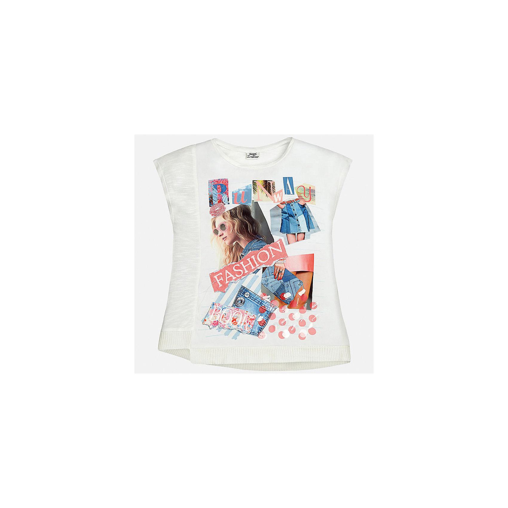 Футболка для девочки MayoralХарактеристики товара:<br><br>• цвет: молочный<br>• состав: 100% хлопок<br>• декорирована принтом<br>• короткие рукава<br>• округлый горловой вырез<br>• страна бренда: Испания<br><br>Стильная качественная футболка для девочки поможет разнообразить гардероб ребенка и украсить наряд. Она отлично сочетается и с юбками, и с шортами, и с брюками. Универсальный цвет позволяет подобрать к вещи низ практически любой расцветки. Интересная отделка модели делает её нарядной и оригинальной. В составе ткани - только натуральный хлопок, гипоаллергенный, приятный на ощупь, дышащий.<br><br>Одежда, обувь и аксессуары от испанского бренда Mayoral полюбились детям и взрослым по всему миру. Модели этой марки - стильные и удобные. Для их производства используются только безопасные, качественные материалы и фурнитура. Порадуйте ребенка модными и красивыми вещами от Mayoral! <br><br>Футболку для девочки от испанского бренда Mayoral (Майорал) можно купить в нашем интернет-магазине.<br><br>Ширина мм: 199<br>Глубина мм: 10<br>Высота мм: 161<br>Вес г: 151<br>Цвет: розовый<br>Возраст от месяцев: 168<br>Возраст до месяцев: 180<br>Пол: Женский<br>Возраст: Детский<br>Размер: 170,128/134,140,152,158,164<br>SKU: 5292519