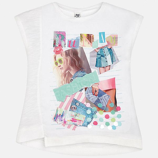 Футболка для девочки MayoralФутболки, поло и топы<br>Характеристики товара:<br><br>• цвет: белый<br>• состав: 100% хлопок<br>• декорирована принтом<br>• короткие рукава<br>• округлый горловой вырез<br>• страна бренда: Испания<br><br>Стильная качественная футболка для девочки поможет разнообразить гардероб ребенка и украсить наряд. Она отлично сочетается и с юбками, и с шортами, и с брюками. Универсальный цвет позволяет подобрать к вещи низ практически любой расцветки. Интересная отделка модели делает её нарядной и оригинальной. В составе ткани - только натуральный хлопок, гипоаллергенный, приятный на ощупь, дышащий.<br><br>Одежда, обувь и аксессуары от испанского бренда Mayoral полюбились детям и взрослым по всему миру. Модели этой марки - стильные и удобные. Для их производства используются только безопасные, качественные материалы и фурнитура. Порадуйте ребенка модными и красивыми вещами от Mayoral! <br><br>Футболку для девочки от испанского бренда Mayoral (Майорал) можно купить в нашем интернет-магазине.<br>Ширина мм: 199; Глубина мм: 10; Высота мм: 161; Вес г: 151; Цвет: зеленый; Возраст от месяцев: 144; Возраст до месяцев: 156; Пол: Женский; Возраст: Детский; Размер: 158,170,164,152,140,128/134; SKU: 5292526;