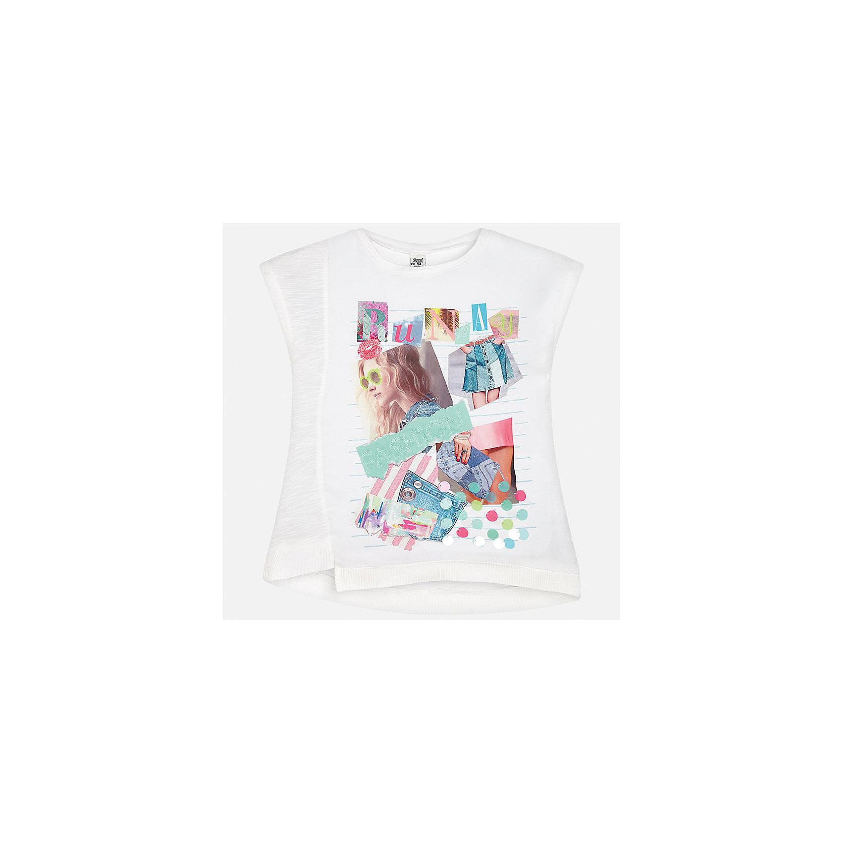 Футболка для девочки MayoralФутболки, поло и топы<br>Характеристики товара:<br><br>• цвет: белый<br>• состав: 100% хлопок<br>• декорирована принтом<br>• короткие рукава<br>• округлый горловой вырез<br>• страна бренда: Испания<br><br>Стильная качественная футболка для девочки поможет разнообразить гардероб ребенка и украсить наряд. Она отлично сочетается и с юбками, и с шортами, и с брюками. Универсальный цвет позволяет подобрать к вещи низ практически любой расцветки. Интересная отделка модели делает её нарядной и оригинальной. В составе ткани - только натуральный хлопок, гипоаллергенный, приятный на ощупь, дышащий.<br><br>Одежда, обувь и аксессуары от испанского бренда Mayoral полюбились детям и взрослым по всему миру. Модели этой марки - стильные и удобные. Для их производства используются только безопасные, качественные материалы и фурнитура. Порадуйте ребенка модными и красивыми вещами от Mayoral! <br><br>Футболку для девочки от испанского бренда Mayoral (Майорал) можно купить в нашем интернет-магазине.<br><br>Ширина мм: 199<br>Глубина мм: 10<br>Высота мм: 161<br>Вес г: 151<br>Цвет: зеленый<br>Возраст от месяцев: 168<br>Возраст до месяцев: 180<br>Пол: Женский<br>Возраст: Детский<br>Размер: 170,128/134,140,152,158,164<br>SKU: 5292526