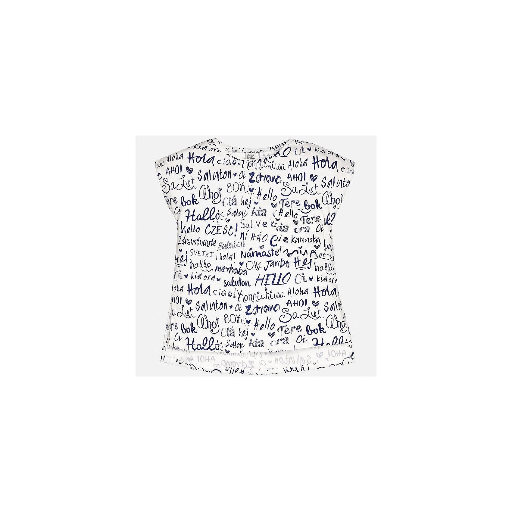 Футболка для девочки MayoralФутболки, поло и топы<br>Характеристики товара:<br><br>• цвет: белый<br>• состав: 100% хлопок<br>• декорирована принтом<br>• короткие рукава<br>• округлый горловой вырез<br>• страна бренда: Испания<br><br>Стильная качественная футболка для девочки поможет разнообразить гардероб ребенка и украсить наряд. Она отлично сочетается и с юбками, и с шортами, и с брюками. Универсальный цвет позволяет подобрать к вещи низ практически любой расцветки. Интересная отделка модели делает её нарядной и оригинальной. В составе ткани преобладает натуральный хлопок, гипоаллергенный, приятный на ощупь, дышащий.<br><br>Одежда, обувь и аксессуары от испанского бренда Mayoral полюбились детям и взрослым по всему миру. Модели этой марки - стильные и удобные. Для их производства используются только безопасные, качественные материалы и фурнитура. Порадуйте ребенка модными и красивыми вещами от Mayoral! <br><br>Футболку для девочки от испанского бренда Mayoral (Майорал) можно купить в нашем интернет-магазине.<br><br>Ширина мм: 199<br>Глубина мм: 10<br>Высота мм: 161<br>Вес г: 151<br>Цвет: бежевый<br>Возраст от месяцев: 168<br>Возраст до месяцев: 180<br>Пол: Женский<br>Возраст: Детский<br>Размер: 170,164,128/134,140,152,158<br>SKU: 5292540