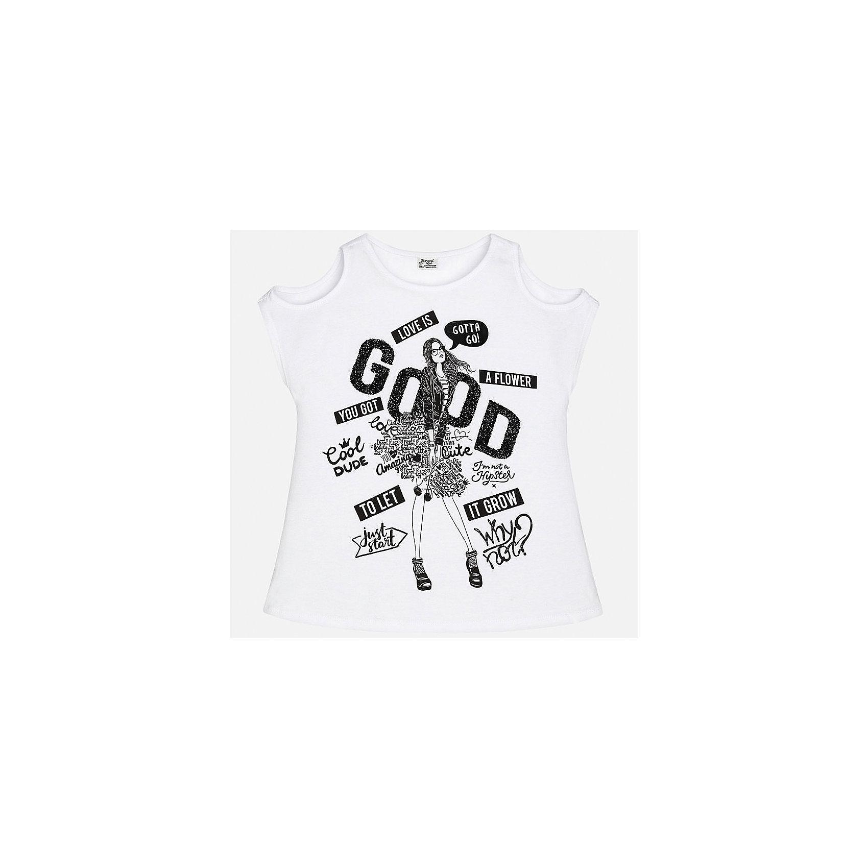 Футболка для девочки MayoralФутболки, поло и топы<br>Характеристики товара:<br><br>• цвет: белый<br>• состав: 100% текстиль<br>• декорирована принтом<br>• короткие рукава<br>• округлый горловой вырез<br>• страна бренда: Испания<br><br>Стильная качественная футболка для девочки поможет разнообразить гардероб ребенка и украсить наряд. Она отлично сочетается и с юбками, и с шортами, и с брюками. Универсальный цвет позволяет подобрать к вещи низ практически любой расцветки. Интересная отделка модели делает её нарядной и оригинальной. В составе ткани преобладает натуральный хлопок, гипоаллергенный, приятный на ощупь, дышащий.<br><br>Одежда, обувь и аксессуары от испанского бренда Mayoral полюбились детям и взрослым по всему миру. Модели этой марки - стильные и удобные. Для их производства используются только безопасные, качественные материалы и фурнитура. Порадуйте ребенка модными и красивыми вещами от Mayoral! <br><br>Футболку для девочки от испанского бренда Mayoral (Майорал) можно купить в нашем интернет-магазине.<br><br>Ширина мм: 199<br>Глубина мм: 10<br>Высота мм: 161<br>Вес г: 151<br>Цвет: черный<br>Возраст от месяцев: 156<br>Возраст до месяцев: 168<br>Пол: Женский<br>Возраст: Детский<br>Размер: 128/134,170,158,152,140,164<br>SKU: 5292547