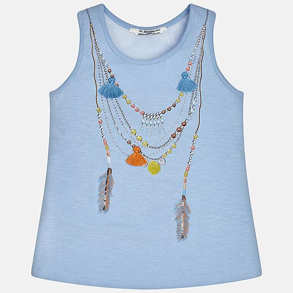 Майка для девочки MayoralФутболки, поло и топы<br>Характеристики товара:<br><br>• цвет: голубой<br>• состав: 100% хлопок<br>• эластичный материал<br>• декорирована принтом<br>• округлый горловой вырез<br>• страна бренда: Испания<br><br>Стильная качественная майка для девочки поможет разнообразить гардероб ребенка и украсить наряд. Она отлично сочетается и с юбками, и с шортами, и с брюками. Универсальный цвет позволяет подобрать к вещи низ практически любой расцветки. Интересная отделка модели делает её нарядной и оригинальной. В составе материала - только натуральный хлопок, гипоаллергенный, приятный на ощупь, дышащий.<br><br>Одежда, обувь и аксессуары от испанского бренда Mayoral полюбились детям и взрослым по всему миру. Модели этой марки - стильные и удобные. Для их производства используются только безопасные, качественные материалы и фурнитура. Порадуйте ребенка модными и красивыми вещами от Mayoral! <br><br>Майку для девочки от испанского бренда Mayoral (Майорал) можно купить в нашем интернет-магазине.<br><br>Ширина мм: 199<br>Глубина мм: 10<br>Высота мм: 161<br>Вес г: 151<br>Цвет: голубой<br>Возраст от месяцев: 132<br>Возраст до месяцев: 144<br>Пол: Женский<br>Возраст: Детский<br>Размер: 152,170,128/134,140,158,164<br>SKU: 5292596