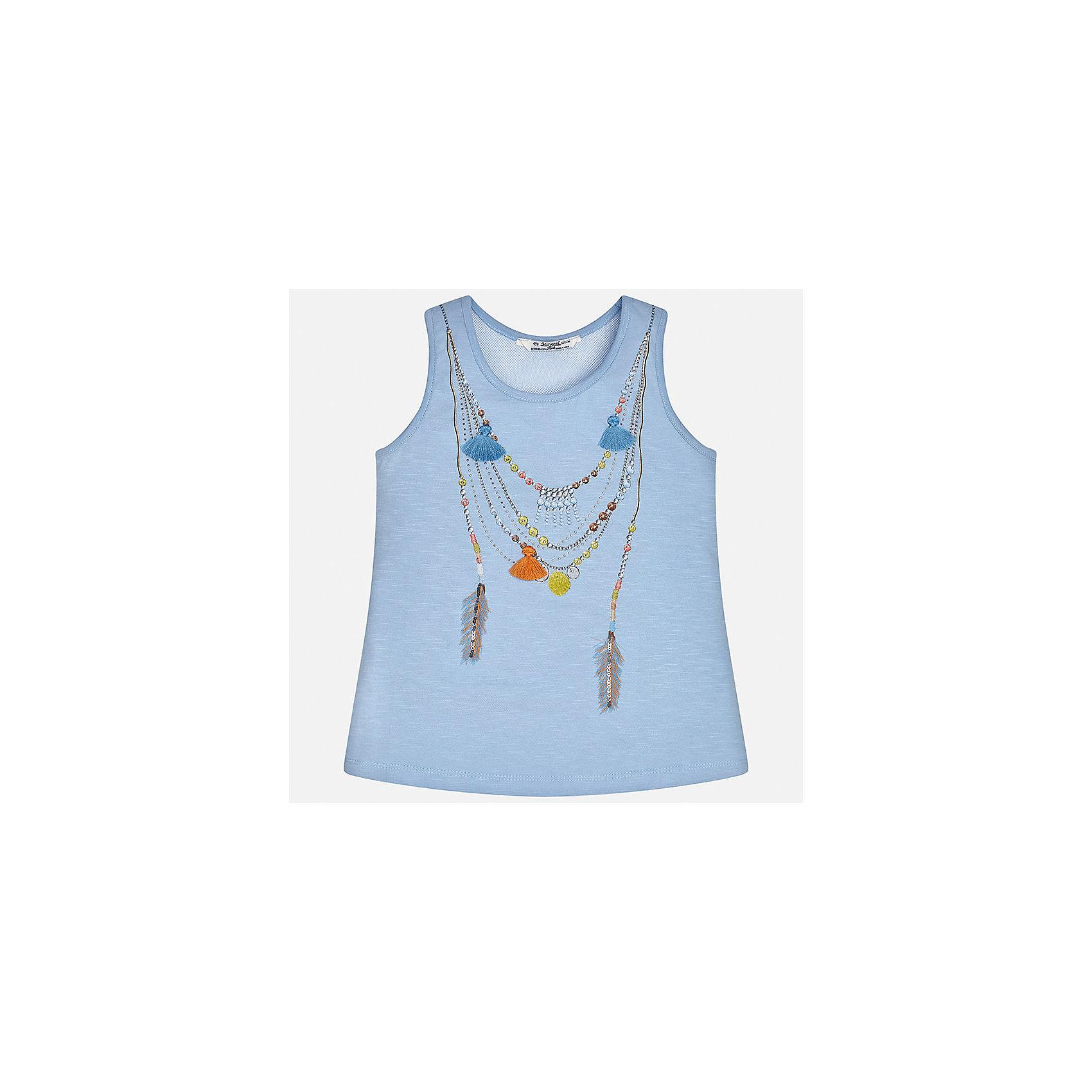 Майка для девочки MayoralФутболки, поло и топы<br>Характеристики товара:<br><br>• цвет: голубой<br>• состав: 100% хлопок<br>• эластичный материал<br>• декорирована принтом<br>• округлый горловой вырез<br>• страна бренда: Испания<br><br>Стильная качественная майка для девочки поможет разнообразить гардероб ребенка и украсить наряд. Она отлично сочетается и с юбками, и с шортами, и с брюками. Универсальный цвет позволяет подобрать к вещи низ практически любой расцветки. Интересная отделка модели делает её нарядной и оригинальной. В составе материала - только натуральный хлопок, гипоаллергенный, приятный на ощупь, дышащий.<br><br>Одежда, обувь и аксессуары от испанского бренда Mayoral полюбились детям и взрослым по всему миру. Модели этой марки - стильные и удобные. Для их производства используются только безопасные, качественные материалы и фурнитура. Порадуйте ребенка модными и красивыми вещами от Mayoral! <br><br>Майку для девочки от испанского бренда Mayoral (Майорал) можно купить в нашем интернет-магазине.<br><br>Ширина мм: 199<br>Глубина мм: 10<br>Высота мм: 161<br>Вес г: 151<br>Цвет: голубой<br>Возраст от месяцев: 168<br>Возраст до месяцев: 180<br>Пол: Женский<br>Возраст: Детский<br>Размер: 140,152,158,164,128/134,170<br>SKU: 5292596