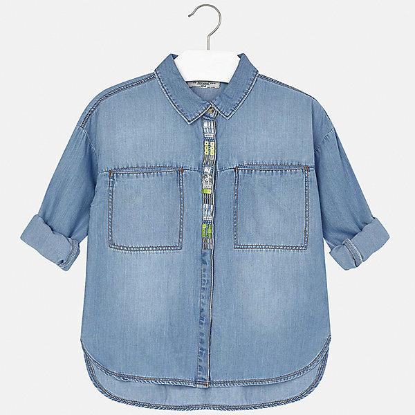 Блузка джинсовая для девочки MayoralБлузки и рубашки<br>Характеристики товара:<br><br>• цвет: голубой<br>• состав: 65% хлопок, 35% лиоцелл<br>• легкий материал<br>• пайетки и бисер на планке<br>• карманы<br>• отложной воротник<br>• рукава с отворотами<br>• страна бренда: Испания<br><br>Модная легкая блузка для девочки поможет разнообразить гардероб ребенка и украсить наряд. Она отлично сочетается и с юбками, и с шортами, и с брюками. Универсальный цвет позволяет подобрать к вещи низ практически любой расцветки. Интересный крой модели делает её нарядной и оригинальной. В составе материала - натуральный хлопок, гипоаллергенный, приятный на ощупь, дышащий.<br><br>Одежда, обувь и аксессуары от испанского бренда Mayoral полюбились детям и взрослым по всему миру. Модели этой марки - стильные и удобные. Для их производства используются только безопасные, качественные материалы и фурнитура. Порадуйте ребенка модными и красивыми вещами от Mayoral! <br><br>Блузку для девочки от испанского бренда Mayoral (Майорал) можно купить в нашем интернет-магазине.<br>Ширина мм: 186; Глубина мм: 87; Высота мм: 198; Вес г: 197; Цвет: синий; Возраст от месяцев: 144; Возраст до месяцев: 156; Пол: Женский; Возраст: Детский; Размер: 158,170,128/134,140,152,164; SKU: 5292624;