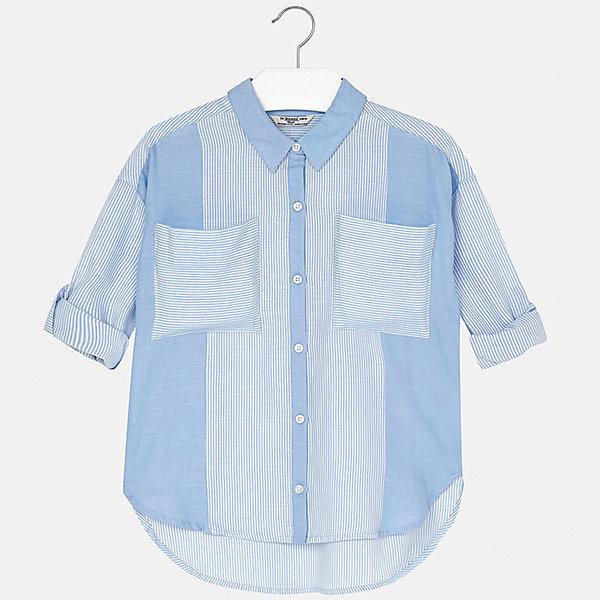 Блузка для девочки MayoralБлузки и рубашки<br>Характеристики товара:<br><br>• цвет: голубой<br>• состав: 100% хлопок<br>• легкий материал<br>• пуговицы<br>• карманы<br>• отложной воротник<br>• рукава с отворотами<br>• страна бренда: Испания<br><br>Модная легкая блузка для девочки поможет разнообразить гардероб ребенка и украсить наряд. Она отлично сочетается и с юбками, и с шортами, и с брюками. Универсальный цвет позволяет подобрать к вещи низ практически любой расцветки. Интересный крой модели делает её нарядной и оригинальной. В составе материала - натуральный хлопок, гипоаллергенный, приятный на ощупь, дышащий.<br><br>Одежда, обувь и аксессуары от испанского бренда Mayoral полюбились детям и взрослым по всему миру. Модели этой марки - стильные и удобные. Для их производства используются только безопасные, качественные материалы и фурнитура. Порадуйте ребенка модными и красивыми вещами от Mayoral! <br><br>Блузку для девочки от испанского бренда Mayoral (Майорал) можно купить в нашем интернет-магазине.<br><br>Ширина мм: 186<br>Глубина мм: 87<br>Высота мм: 198<br>Вес г: 197<br>Цвет: голубой<br>Возраст от месяцев: 108<br>Возраст до месяцев: 120<br>Пол: Женский<br>Возраст: Детский<br>Размер: 140,128/134,170,164,158,152<br>SKU: 5292631