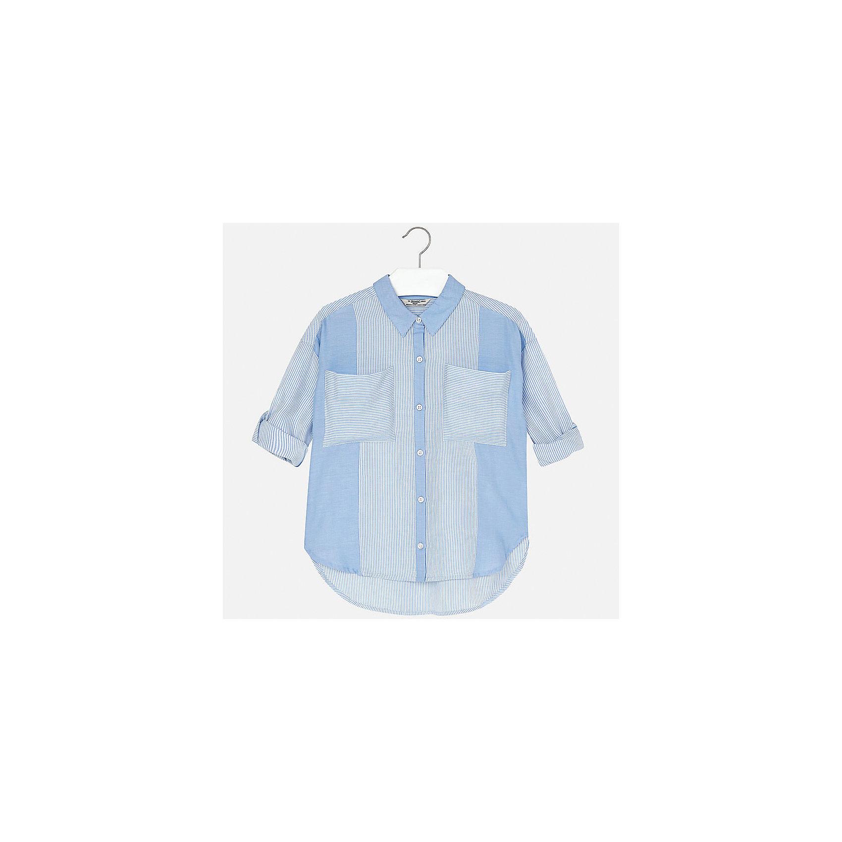 Блузка для девочки MayoralБлузки и рубашки<br>Характеристики товара:<br><br>• цвет: голубой<br>• состав: 100% хлопок<br>• легкий материал<br>• пуговицы<br>• карманы<br>• отложной воротник<br>• рукава с отворотами<br>• страна бренда: Испания<br><br>Модная легкая блузка для девочки поможет разнообразить гардероб ребенка и украсить наряд. Она отлично сочетается и с юбками, и с шортами, и с брюками. Универсальный цвет позволяет подобрать к вещи низ практически любой расцветки. Интересный крой модели делает её нарядной и оригинальной. В составе материала - натуральный хлопок, гипоаллергенный, приятный на ощупь, дышащий.<br><br>Одежда, обувь и аксессуары от испанского бренда Mayoral полюбились детям и взрослым по всему миру. Модели этой марки - стильные и удобные. Для их производства используются только безопасные, качественные материалы и фурнитура. Порадуйте ребенка модными и красивыми вещами от Mayoral! <br><br>Блузку для девочки от испанского бренда Mayoral (Майорал) можно купить в нашем интернет-магазине.<br><br>Ширина мм: 186<br>Глубина мм: 87<br>Высота мм: 198<br>Вес г: 197<br>Цвет: голубой<br>Возраст от месяцев: 84<br>Возраст до месяцев: 96<br>Пол: Женский<br>Возраст: Детский<br>Размер: 128/134,152,158,164,170,140<br>SKU: 5292631