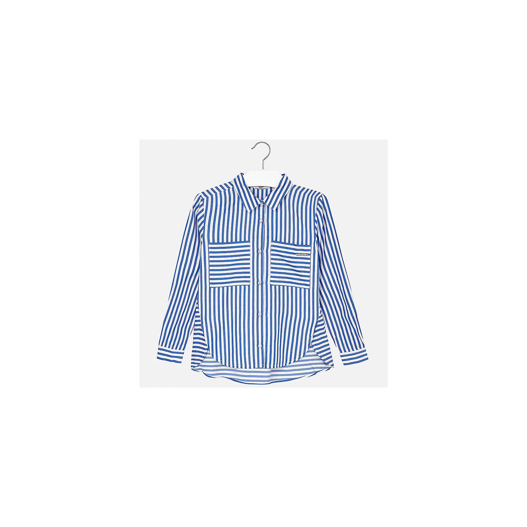 Блузка для девочки MayoralБлузки и рубашки<br>Характеристики товара:<br><br>• цвет: голубой<br>• состав: 52% вискоза, 48% полиэстер<br>• легкий материал<br>• пуговицы<br>• карманы<br>• отложной воротник<br>• длинные рукава<br>• страна бренда: Испания<br><br>Модная легкая блузка для девочки поможет разнообразить гардероб ребенка и украсить наряд. Она отлично сочетается и с юбками, и с шортами, и с брюками. Универсальный цвет позволяет подобрать к вещи низ практически любой расцветки. Интересный крой модели делает её нарядной и оригинальной. В составе материала - натуральный хлопок, гипоаллергенный, приятный на ощупь, дышащий.<br><br>Одежда, обувь и аксессуары от испанского бренда Mayoral полюбились детям и взрослым по всему миру. Модели этой марки - стильные и удобные. Для их производства используются только безопасные, качественные материалы и фурнитура. Порадуйте ребенка модными и красивыми вещами от Mayoral! <br><br>Блузку для девочки от испанского бренда Mayoral (Майорал) можно купить в нашем интернет-магазине.<br><br>Ширина мм: 186<br>Глубина мм: 87<br>Высота мм: 198<br>Вес г: 197<br>Цвет: синий<br>Возраст от месяцев: 84<br>Возраст до месяцев: 96<br>Пол: Женский<br>Возраст: Детский<br>Размер: 128/134,170,140,152,158,164<br>SKU: 5292638