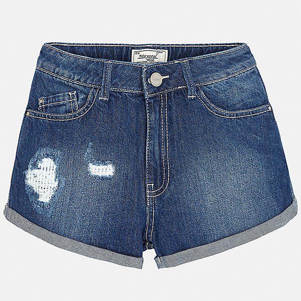 Шорты джинсовые для девочки MayoralДжинсовая одежда<br>Характеристики товара:<br><br>• цвет: синий<br>• состав: 97% хлопок, 3% эластан<br>• эффект потертости<br>• карманы<br>• пояс с регулировкой объема<br>• шлевки<br>• страна бренда: Испания<br><br>Стильные легкие шорты для девочки смогут разнообразить гардероб ребенка и украсить наряд. Они отлично сочетаются с майками, футболками, блузками. Красивый оттенок позволяет подобрать к вещи верх разных расцветок. Интересный крой модели делает её нарядной и оригинальной. В составе материала - натуральный хлопок, гипоаллергенный, приятный на ощупь, дышащий.<br><br>Одежда, обувь и аксессуары от испанского бренда Mayoral полюбились детям и взрослым по всему миру. Модели этой марки - стильные и удобные. Для их производства используются только безопасные, качественные материалы и фурнитура. Порадуйте ребенка модными и красивыми вещами от Mayoral! <br><br>Шорты для девочки от испанского бренда Mayoral (Майорал) можно купить в нашем интернет-магазине.<br><br>Ширина мм: 191<br>Глубина мм: 10<br>Высота мм: 175<br>Вес г: 273<br>Цвет: голубой<br>Возраст от месяцев: 156<br>Возраст до месяцев: 168<br>Пол: Женский<br>Возраст: Детский<br>Размер: 164,152,140,128/134,158,170<br>SKU: 5292645