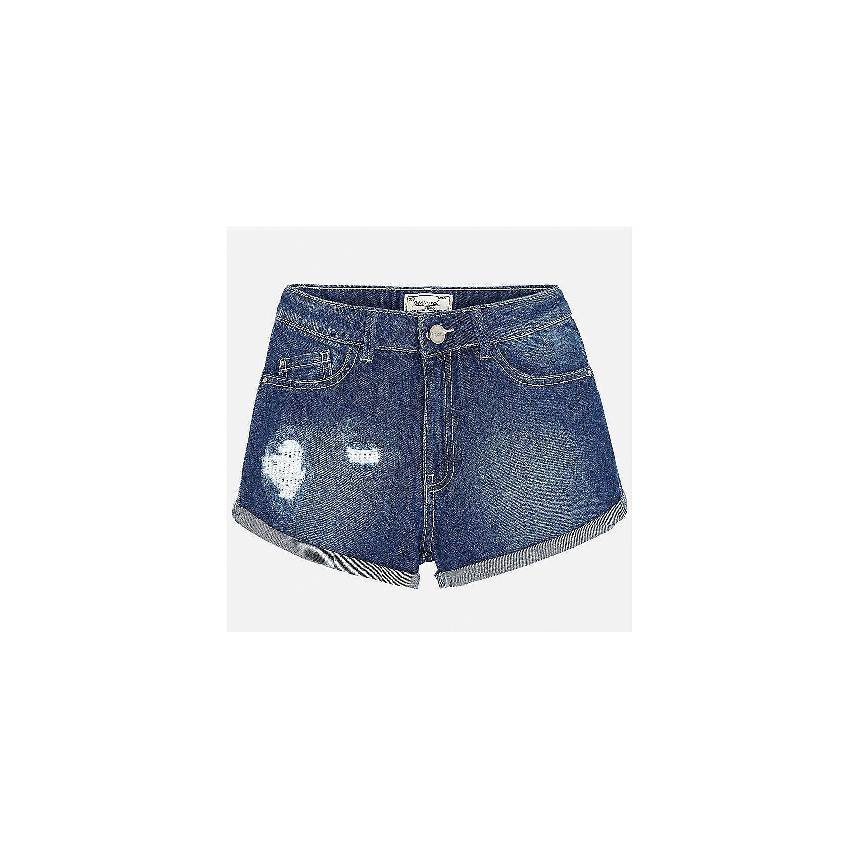 Шорты джинсовые для девочки MayoralХарактеристики товара:<br><br>• цвет: синий<br>• состав: 97% хлопок, 3% эластан<br>• эффект потертости<br>• карманы<br>• пояс с регулировкой объема<br>• шлевки<br>• страна бренда: Испания<br><br>Стильные легкие шорты для девочки смогут разнообразить гардероб ребенка и украсить наряд. Они отлично сочетаются с майками, футболками, блузками. Красивый оттенок позволяет подобрать к вещи верх разных расцветок. Интересный крой модели делает её нарядной и оригинальной. В составе материала - натуральный хлопок, гипоаллергенный, приятный на ощупь, дышащий.<br><br>Одежда, обувь и аксессуары от испанского бренда Mayoral полюбились детям и взрослым по всему миру. Модели этой марки - стильные и удобные. Для их производства используются только безопасные, качественные материалы и фурнитура. Порадуйте ребенка модными и красивыми вещами от Mayoral! <br><br>Шорты для девочки от испанского бренда Mayoral (Майорал) можно купить в нашем интернет-магазине.<br><br>Ширина мм: 191<br>Глубина мм: 10<br>Высота мм: 175<br>Вес г: 273<br>Цвет: голубой<br>Возраст от месяцев: 168<br>Возраст до месяцев: 180<br>Пол: Женский<br>Возраст: Детский<br>Размер: 170,164,158,152,140,128/134<br>SKU: 5292645