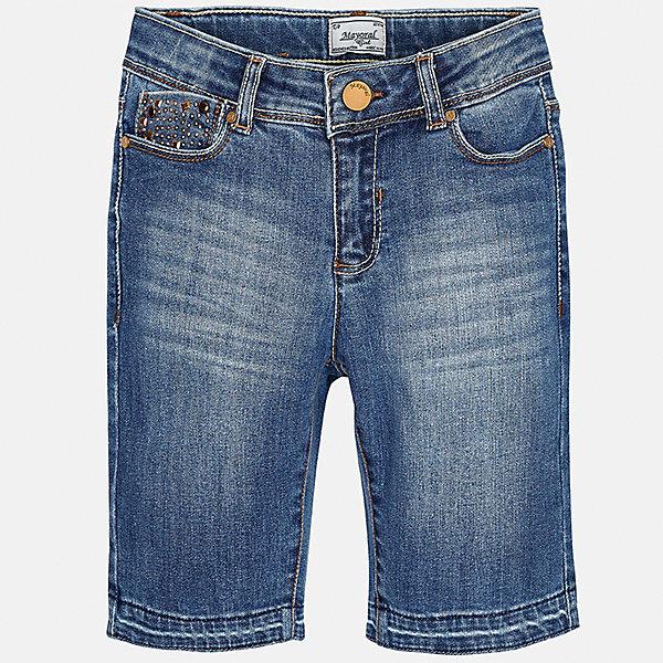 Бриджи джинсовые для девочки MayoralДжинсовая одежда<br>Характеристики товара:<br><br>• цвет: синий<br>• состав: 92% хлопок, 6% полиэстер, 2% эластан<br>• эффект потертости<br>• карманы<br>• пояс с регулировкой объема<br>• шлевки<br>• страна бренда: Испания<br><br>Стильные легкие бриджи для девочки смогут разнообразить гардероб ребенка и украсить наряд. Они отлично сочетаются с майками, футболками, блузками. Красивый оттенок позволяет подобрать к вещи верх разных расцветок. Интересный крой модели делает её нарядной и оригинальной. В составе материала - натуральный хлопок, гипоаллергенный, приятный на ощупь, дышащий.<br><br>Одежда, обувь и аксессуары от испанского бренда Mayoral полюбились детям и взрослым по всему миру. Модели этой марки - стильные и удобные. Для их производства используются только безопасные, качественные материалы и фурнитура. Порадуйте ребенка модными и красивыми вещами от Mayoral! <br><br>Бриджи для девочки от испанского бренда Mayoral (Майорал) можно купить в нашем интернет-магазине.<br><br>Ширина мм: 215<br>Глубина мм: 88<br>Высота мм: 191<br>Вес г: 336<br>Цвет: синий<br>Возраст от месяцев: 108<br>Возраст до месяцев: 120<br>Пол: Женский<br>Возраст: Детский<br>Размер: 140,152,128/134,170,164,158<br>SKU: 5292659