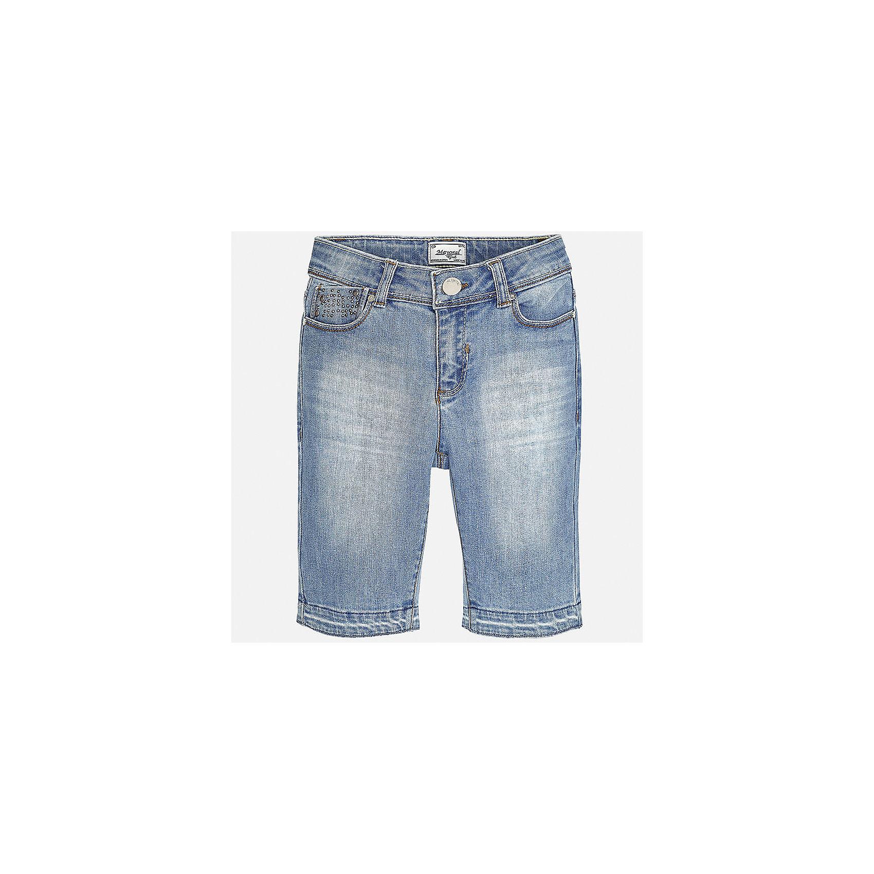 Бриджи джинсовые для девочки MayoralХарактеристики товара:<br><br>• цвет: голубой<br>• состав: 92% хлопок, 6% полиэстер, 2% эластан<br>• эффект потертости<br>• карманы<br>• пояс с регулировкой объема<br>• шлевки<br>• страна бренда: Испания<br><br>Стильные легкие бриджи для девочки смогут разнообразить гардероб ребенка и украсить наряд. Они отлично сочетаются с майками, футболками, блузками. Красивый оттенок позволяет подобрать к вещи верх разных расцветок. Интересный крой модели делает её нарядной и оригинальной. В составе материала - натуральный хлопок, гипоаллергенный, приятный на ощупь, дышащий.<br><br>Одежда, обувь и аксессуары от испанского бренда Mayoral полюбились детям и взрослым по всему миру. Модели этой марки - стильные и удобные. Для их производства используются только безопасные, качественные материалы и фурнитура. Порадуйте ребенка модными и красивыми вещами от Mayoral! <br><br>Бриджи для девочки от испанского бренда Mayoral (Майорал) можно купить в нашем интернет-магазине.<br><br>Ширина мм: 215<br>Глубина мм: 88<br>Высота мм: 191<br>Вес г: 336<br>Цвет: синий<br>Возраст от месяцев: 168<br>Возраст до месяцев: 180<br>Пол: Женский<br>Возраст: Детский<br>Размер: 170,128/134,140,152,158,164<br>SKU: 5292666
