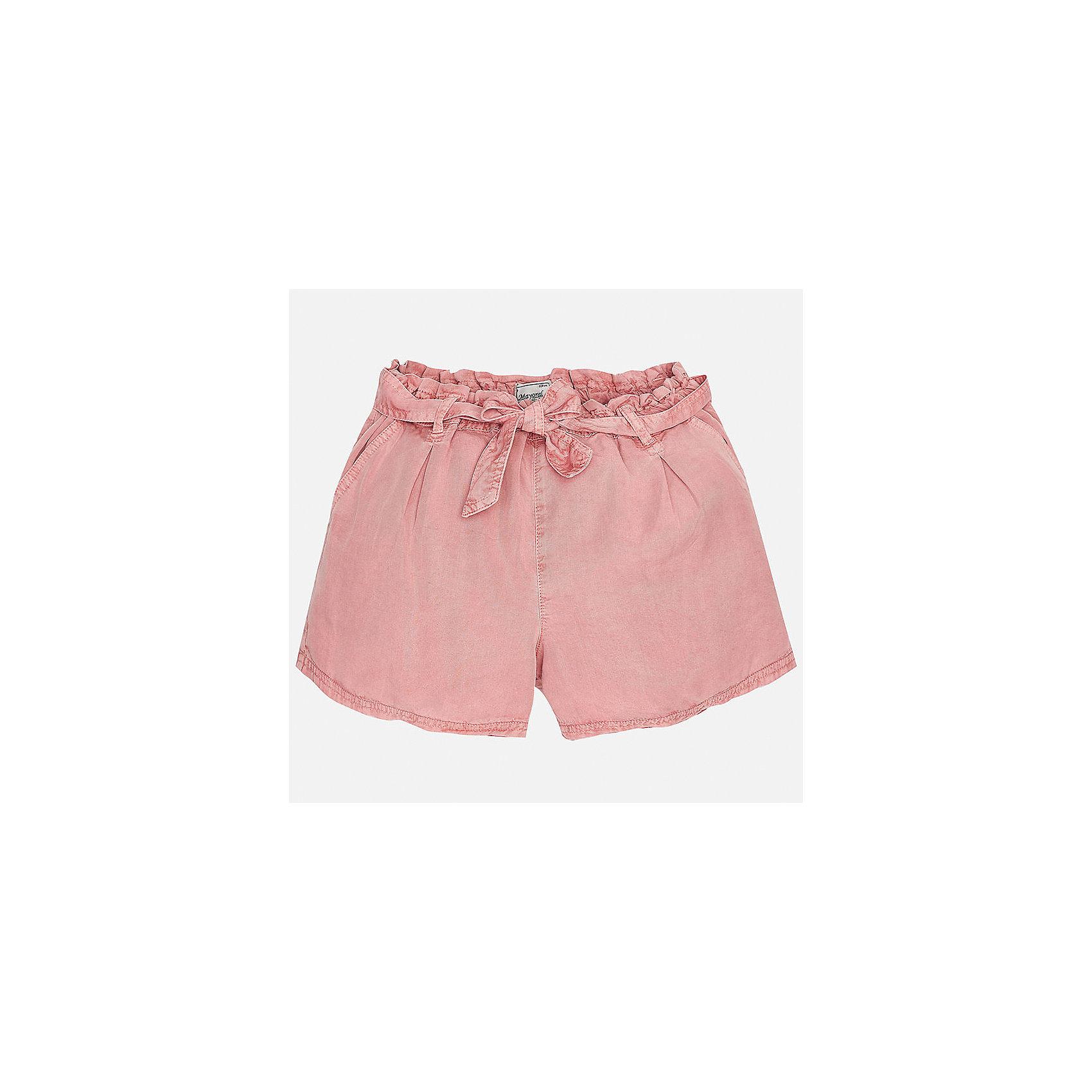 Шорты для девочки MayoralХарактеристики товара:<br><br>• цвет: розовый<br>• состав: 100% лиоцелл<br>• свободный силуэт<br>• есть пояс<br>• пояс - резинка<br>• страна бренда: Испания<br><br>Стильные легкие шорты для девочки смогут разнообразить гардероб ребенка и украсить наряд. Они отлично сочетаются с майками, футболками. Красивый оттенок позволяет подобрать к вещи верх разных расцветок. Интересный крой модели делает её нарядной и оригинальной. <br><br>Одежда, обувь и аксессуары от испанского бренда Mayoral полюбились детям и взрослым по всему миру. Модели этой марки - стильные и удобные. Для их производства используются только безопасные, качественные материалы и фурнитура. Порадуйте ребенка модными и красивыми вещами от Mayoral! <br><br>Шорты для девочки от испанского бренда Mayoral (Майорал) можно купить в нашем интернет-магазине.<br><br>Ширина мм: 191<br>Глубина мм: 10<br>Высота мм: 175<br>Вес г: 273<br>Цвет: розовый<br>Возраст от месяцев: 156<br>Возраст до месяцев: 168<br>Пол: Женский<br>Возраст: Детский<br>Размер: 164,128/134,140,152,158<br>SKU: 5292687