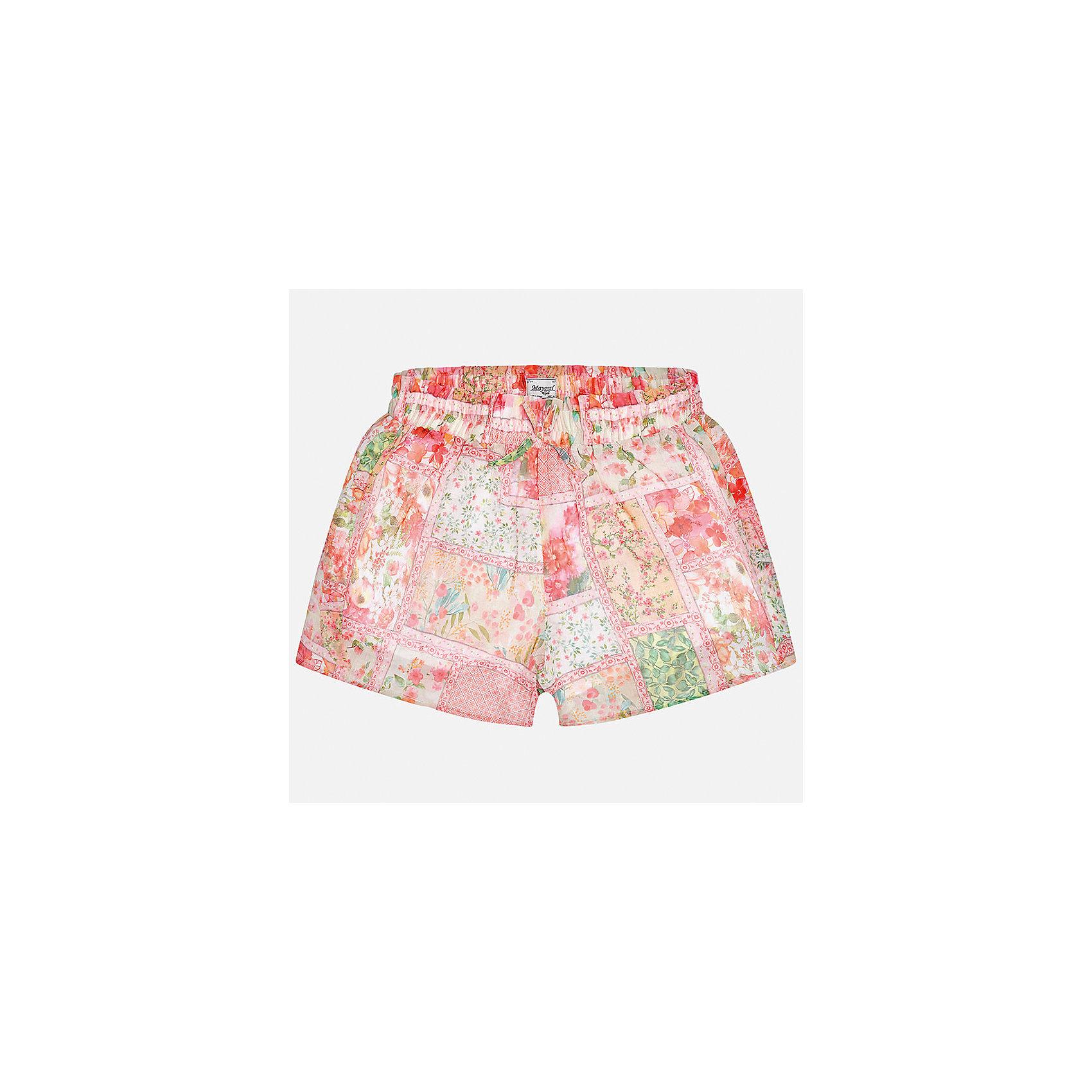 Шорты для девочки MayoralХарактеристики товара:<br><br>• цвет: мультиколор<br>• состав: 100% полиэстер, подкладка - 65% полиэстер, 35% хлопок<br>• свободный силуэт<br>• ткань с принтом<br>• пояс - на шнурке<br>• страна бренда: Испания<br><br>Удобные легкие шорты для девочки смогут разнообразить гардероб ребенка и украсить наряд. Они отлично сочетаются с майками, футболками. Красивый оттенок позволяет подобрать к вещи верх разных расцветок. Интересный крой модели делает её нарядной и оригинальной. <br><br>Одежда, обувь и аксессуары от испанского бренда Mayoral полюбились детям и взрослым по всему миру. Модели этой марки - стильные и удобные. Для их производства используются только безопасные, качественные материалы и фурнитура. Порадуйте ребенка модными и красивыми вещами от Mayoral! <br><br>Шорты для девочки от испанского бренда Mayoral (Майорал) можно купить в нашем интернет-магазине.<br><br>Ширина мм: 191<br>Глубина мм: 10<br>Высота мм: 175<br>Вес г: 273<br>Цвет: оранжевый<br>Возраст от месяцев: 156<br>Возраст до месяцев: 168<br>Пол: Женский<br>Возраст: Детский<br>Размер: 164,128/134,140,152,158<br>SKU: 5292706