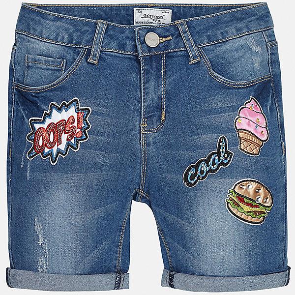 Бриджи джинсовые для девочки MayoralДжинсовая одежда<br>Характеристики товара:<br><br>• цвет: синий<br>• состав: 69% хлопок, 29% полиэстер, 2% эластан<br>• эффект потертости<br>• карманы<br>• пояс с регулировкой объема<br>• шлевки<br>• страна бренда: Испания<br><br>Стильные легкие шорты для девочки смогут разнообразить гардероб ребенка и украсить наряд. Они отлично сочетаются с майками, футболками, блузками. Красивый оттенок позволяет подобрать к вещи верх разных расцветок. Интересный крой модели делает её нарядной и оригинальной. В составе материала - натуральный хлопок, гипоаллергенный, приятный на ощупь, дышащий.<br><br>Одежда, обувь и аксессуары от испанского бренда Mayoral полюбились детям и взрослым по всему миру. Модели этой марки - стильные и удобные. Для их производства используются только безопасные, качественные материалы и фурнитура. Порадуйте ребенка модными и красивыми вещами от Mayoral! <br><br>Шорты для девочки от испанского бренда Mayoral (Майорал) можно купить в нашем интернет-магазине.<br><br>Ширина мм: 191<br>Глубина мм: 10<br>Высота мм: 175<br>Вес г: 273<br>Цвет: голубой<br>Возраст от месяцев: 156<br>Возраст до месяцев: 168<br>Пол: Женский<br>Возраст: Детский<br>Размер: 164,128/134,170,158,152,140<br>SKU: 5292712