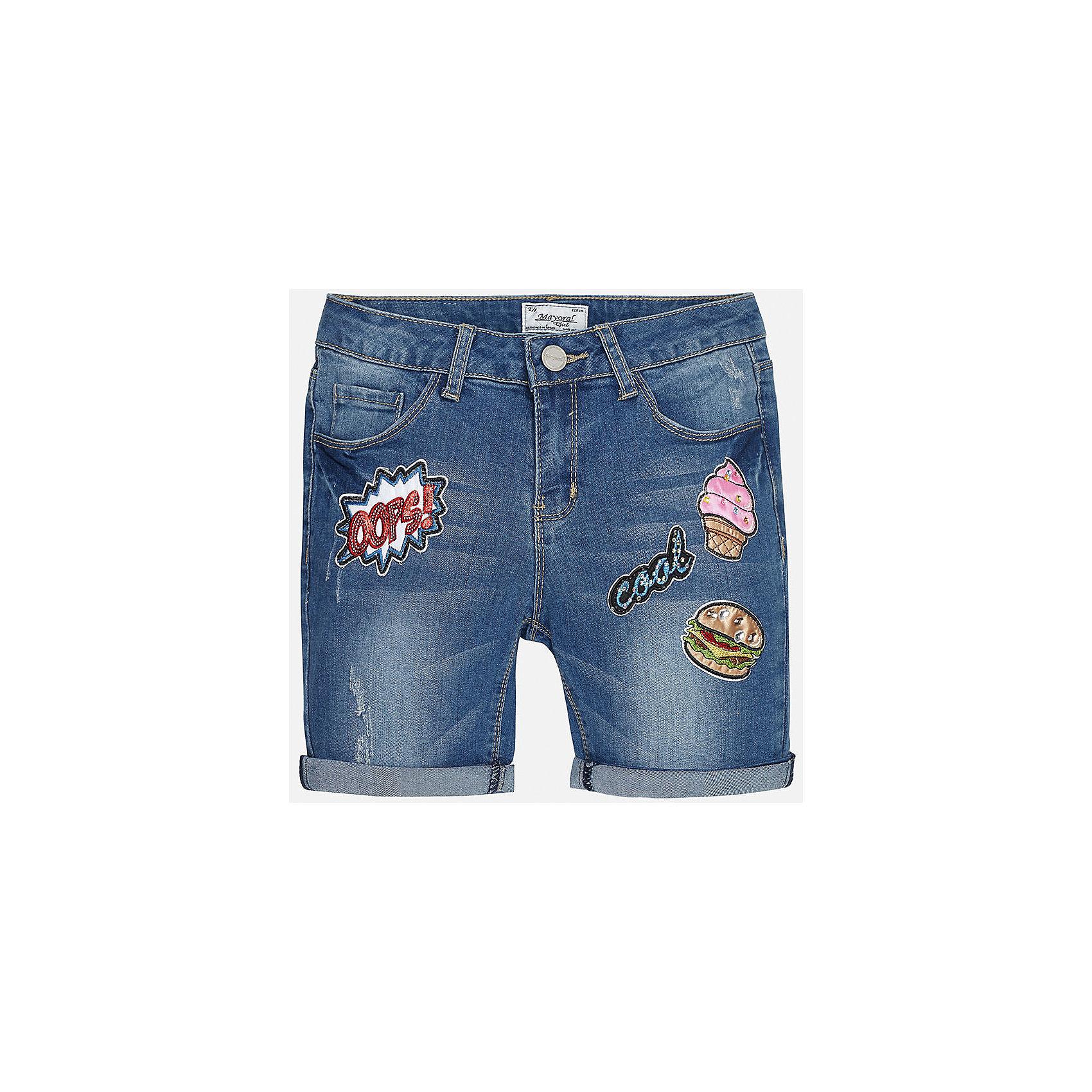 Бриджи джинсовые для девочки MayoralХарактеристики товара:<br><br>• цвет: синий<br>• состав: 69% хлопок, 29% полиэстер, 2% эластан<br>• эффект потертости<br>• карманы<br>• пояс с регулировкой объема<br>• шлевки<br>• страна бренда: Испания<br><br>Стильные легкие шорты для девочки смогут разнообразить гардероб ребенка и украсить наряд. Они отлично сочетаются с майками, футболками, блузками. Красивый оттенок позволяет подобрать к вещи верх разных расцветок. Интересный крой модели делает её нарядной и оригинальной. В составе материала - натуральный хлопок, гипоаллергенный, приятный на ощупь, дышащий.<br><br>Одежда, обувь и аксессуары от испанского бренда Mayoral полюбились детям и взрослым по всему миру. Модели этой марки - стильные и удобные. Для их производства используются только безопасные, качественные материалы и фурнитура. Порадуйте ребенка модными и красивыми вещами от Mayoral! <br><br>Шорты для девочки от испанского бренда Mayoral (Майорал) можно купить в нашем интернет-магазине.<br><br>Ширина мм: 191<br>Глубина мм: 10<br>Высота мм: 175<br>Вес г: 273<br>Цвет: голубой<br>Возраст от месяцев: 84<br>Возраст до месяцев: 96<br>Пол: Женский<br>Возраст: Детский<br>Размер: 128/134,170,140,152,158,164<br>SKU: 5292712
