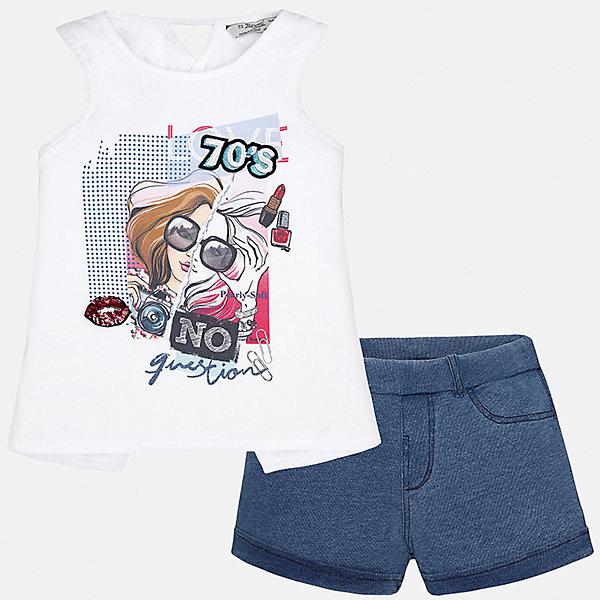 Комплект: топ и шорты для девочки MayoralКомплекты<br>Характеристики товара:<br><br>• цвет: белый/синий<br>• состав: футболка - 98% хлопок, 2% эластан; шорты - 100% хлопок<br>• карманы<br>• пуговица<br>• шлевки<br>• страна бренда: Испания<br><br>Стильные легкие шорты для девочки смогут разнообразить гардероб ребенка и украсить наряд. Они отлично сочетаются с майками, футболками, блузками. Красивый оттенок позволяет подобрать к вещи верх разных расцветок. Интересный крой модели делает её нарядной и оригинальной. В составе материала - натуральный хлопок, гипоаллергенный, приятный на ощупь, дышащий.<br><br>Одежда, обувь и аксессуары от испанского бренда Mayoral полюбились детям и взрослым по всему миру. Модели этой марки - стильные и удобные. Для их производства используются только безопасные, качественные материалы и фурнитура. Порадуйте ребенка модными и красивыми вещами от Mayoral! <br><br>Шорты для девочки от испанского бренда Mayoral (Майорал) можно купить в нашем интернет-магазине.<br><br>Ширина мм: 191<br>Глубина мм: 10<br>Высота мм: 175<br>Вес г: 273<br>Цвет: голубой<br>Возраст от месяцев: 132<br>Возраст до месяцев: 144<br>Пол: Женский<br>Возраст: Детский<br>Размер: 152,128/134,164,158,140<br>SKU: 5292726