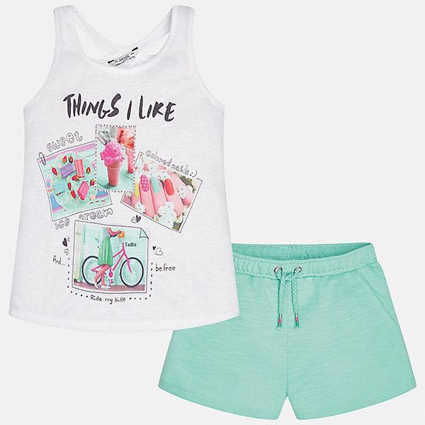 Комплект: футболка с длинным рукавом и шорты для девочки MayoralКомплекты<br>Характеристики товара:<br><br>• цвет: белый/зеленый<br>• состав: 100% полиэстер<br>• комплектация: майка, шорты<br>• майка декорирована принтом<br>• шорты с карманами<br>• пояс на резинке<br>• страна бренда: Испания<br><br>Стильный качественный комплект для девочки поможет разнообразить гардероб ребенка и красиво одеться в теплую погоду. Он отлично сочетается с другими предметами. Универсальный цвет позволяет подобрать к вещам обувь практически любой расцветки. Интересная отделка модели делает её нарядной и оригинальной. <br><br>Одежда, обувь и аксессуары от испанского бренда Mayoral полюбились детям и взрослым по всему миру. Модели этой марки - стильные и удобные. Для их производства используются только безопасные, качественные материалы и фурнитура. Порадуйте ребенка модными и красивыми вещами от Mayoral! <br><br>Комплект для девочки от испанского бренда Mayoral (Майорал) можно купить в нашем интернет-магазине.<br><br>Ширина мм: 191<br>Глубина мм: 10<br>Высота мм: 175<br>Вес г: 273<br>Цвет: зеленый<br>Возраст от месяцев: 144<br>Возраст до месяцев: 156<br>Пол: Женский<br>Возраст: Детский<br>Размер: 158,128/134,164,152,140<br>SKU: 5292737