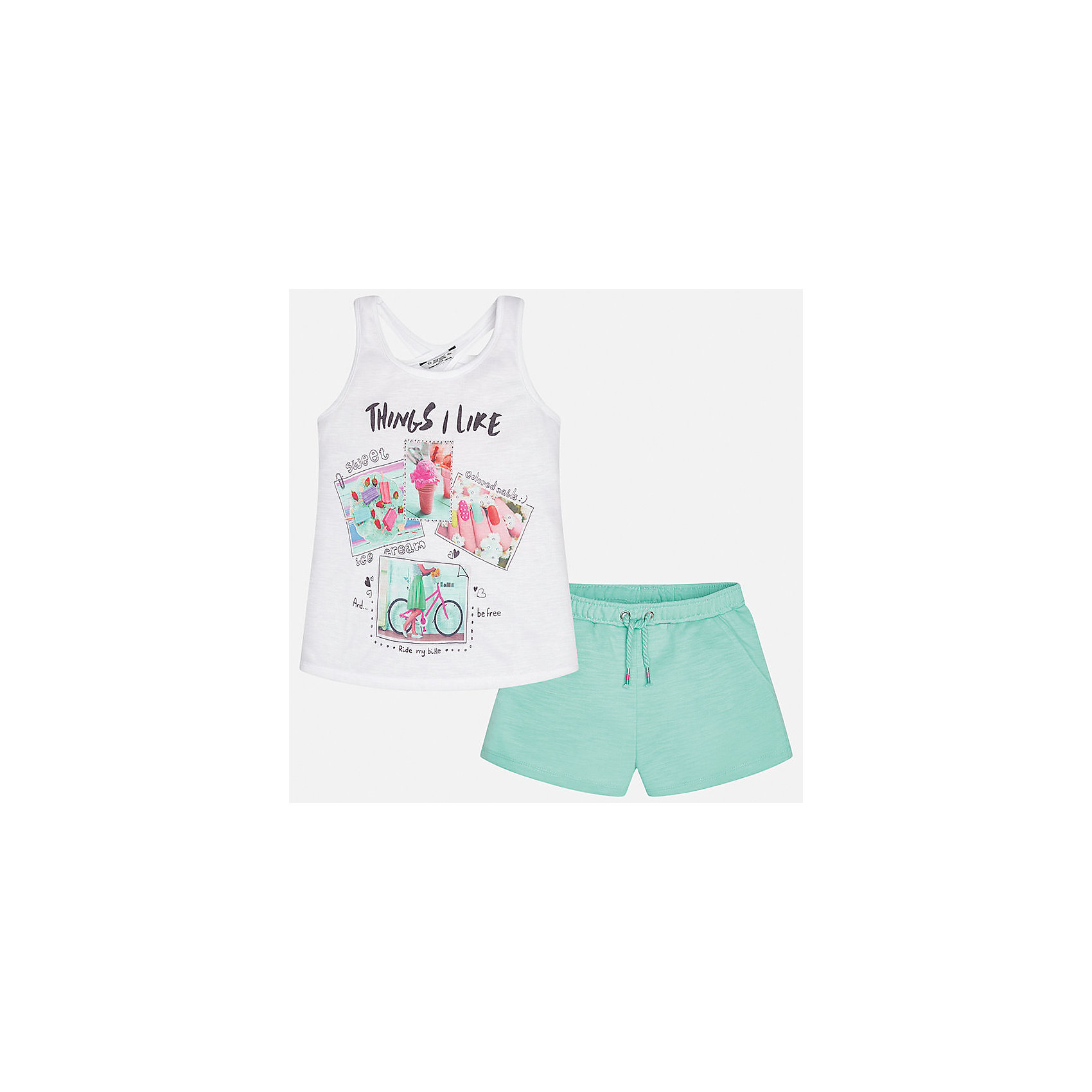 Комплект: футболка с длинным рукавом и шорты для девочки MayoralХарактеристики товара:<br><br>• цвет: белый/зеленый<br>• состав: 100% полиэстер<br>• комплектация: майка, шорты<br>• майка декорирована принтом<br>• шорты с карманами<br>• пояс на резинке<br>• страна бренда: Испания<br><br>Стильный качественный комплект для девочки поможет разнообразить гардероб ребенка и красиво одеться в теплую погоду. Он отлично сочетается с другими предметами. Универсальный цвет позволяет подобрать к вещам обувь практически любой расцветки. Интересная отделка модели делает её нарядной и оригинальной. <br><br>Одежда, обувь и аксессуары от испанского бренда Mayoral полюбились детям и взрослым по всему миру. Модели этой марки - стильные и удобные. Для их производства используются только безопасные, качественные материалы и фурнитура. Порадуйте ребенка модными и красивыми вещами от Mayoral! <br><br>Комплект для девочки от испанского бренда Mayoral (Майорал) можно купить в нашем интернет-магазине.<br><br>Ширина мм: 191<br>Глубина мм: 10<br>Высота мм: 175<br>Вес г: 273<br>Цвет: зеленый<br>Возраст от месяцев: 156<br>Возраст до месяцев: 168<br>Пол: Женский<br>Возраст: Детский<br>Размер: 164,128/134,140,152,158<br>SKU: 5292737