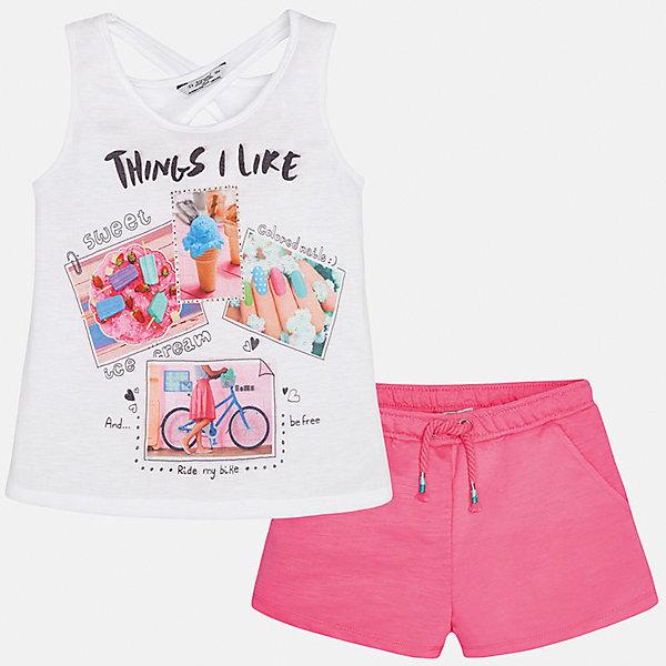 Комплект: футболка с длинным рукавом и шорты для девочки MayoralКомплекты<br>Характеристики товара:<br><br>• цвет: белый/розовый<br>• состав: топ - 100% полиэстер; шорты - 65% полиэстер, 35% хлопок<br>• комплектация: майка, шорты<br>• майка декорирована принтом<br>• шорты с карманами<br>• пояс на резинке<br>• страна бренда: Испания<br><br>Стильный качественный комплект для девочки поможет разнообразить гардероб ребенка и красиво одеться в теплую погоду. Он отлично сочетается с другими предметами. Универсальный цвет позволяет подобрать к вещам обувь практически любой расцветки. Интересная отделка модели делает её нарядной и оригинальной. <br><br>Одежда, обувь и аксессуары от испанского бренда Mayoral полюбились детям и взрослым по всему миру. Модели этой марки - стильные и удобные. Для их производства используются только безопасные, качественные материалы и фурнитура. Порадуйте ребенка модными и красивыми вещами от Mayoral! <br><br>Комплект для девочки от испанского бренда Mayoral (Майорал) можно купить в нашем интернет-магазине.<br>Ширина мм: 191; Глубина мм: 10; Высота мм: 175; Вес г: 273; Цвет: лиловый; Возраст от месяцев: 84; Возраст до месяцев: 96; Пол: Женский; Возраст: Детский; Размер: 128/134,152,158,164,140; SKU: 5292743;