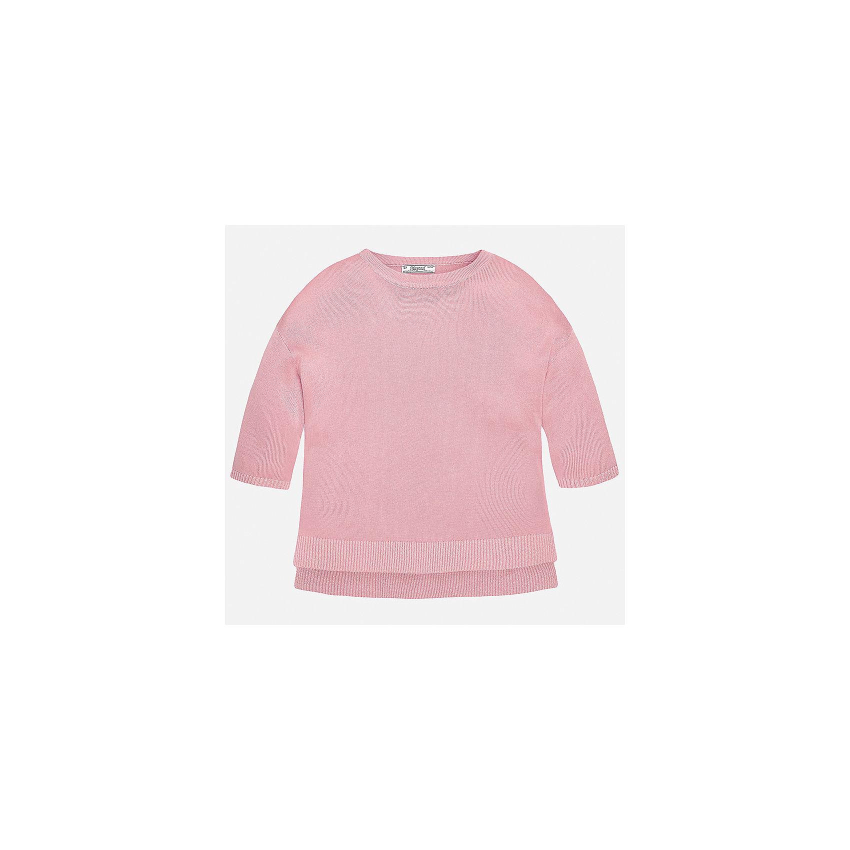 Свитер для девочки MayoralХарактеристики товара:<br><br>• цвет: розовый<br>• состав: 99% вискоза, 1% металлизированная нить<br>• рукава короткие, 3/4<br>• горловой вырез округлый<br>• отделка краев<br>• страна бренда: Испания<br><br>Удобный и красивый свитер для девочки поможет разнообразить гардероб ребенка и украсить наряд. Он отлично сочетается и с юбками, и с брюками. Универсальный цвет позволяет подобрать к вещи низ различных расцветок. Интересная отделка модели делает её нарядной и оригинальной. <br><br>Одежда, обувь и аксессуары от испанского бренда Mayoral полюбились детям и взрослым по всему миру. Модели этой марки - стильные и удобные. Для их производства используются только безопасные, качественные материалы и фурнитура. Порадуйте ребенка модными и красивыми вещами от Mayoral! <br><br>Свитер для девочки от испанского бренда Mayoral (Майорал) можно купить в нашем интернет-магазине.<br><br>Ширина мм: 190<br>Глубина мм: 74<br>Высота мм: 229<br>Вес г: 236<br>Цвет: розовый<br>Возраст от месяцев: 156<br>Возраст до месяцев: 168<br>Пол: Женский<br>Возраст: Детский<br>Размер: 164,128/134,140,152,158<br>SKU: 5292749