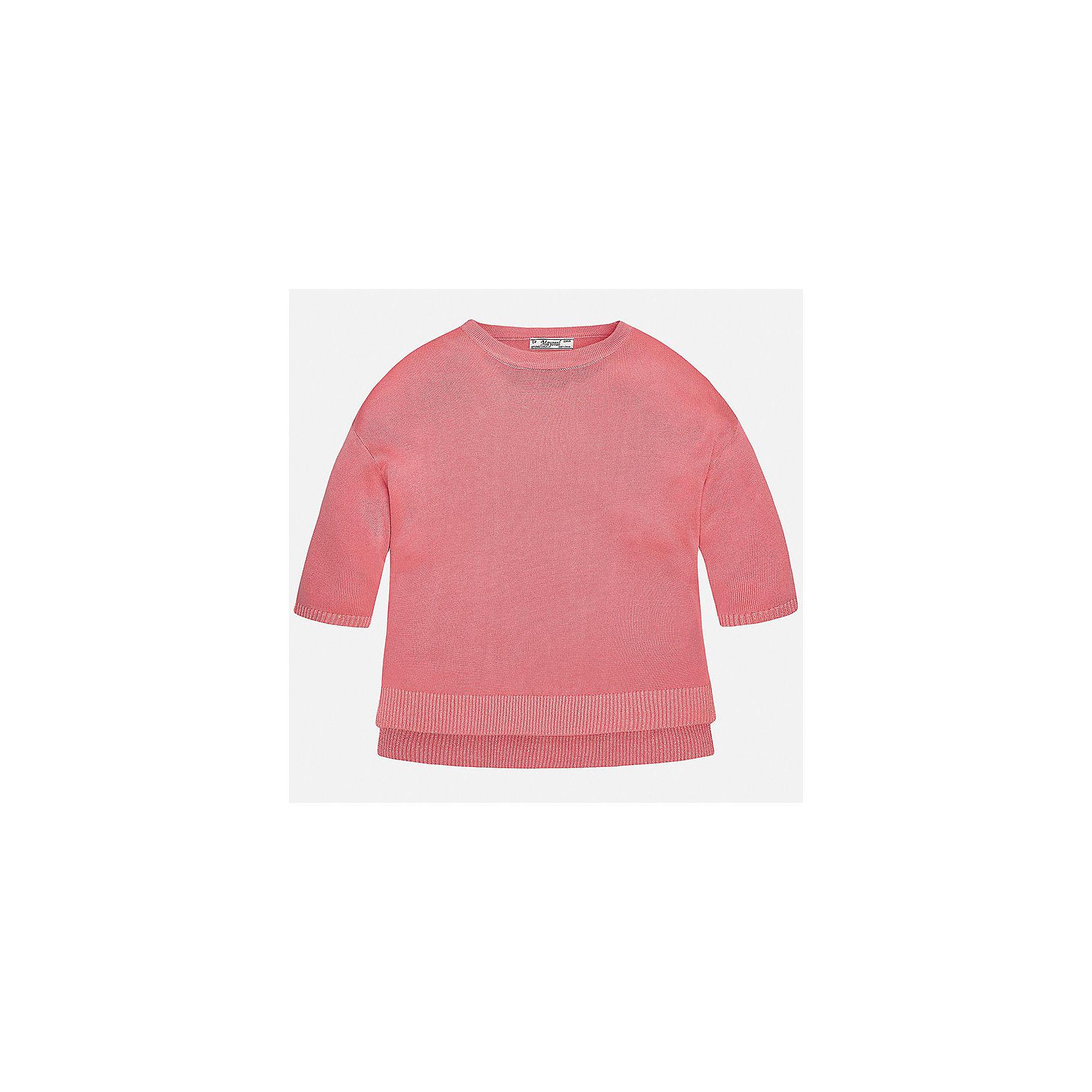 Свитер для девочки MayoralТолстовки<br>Характеристики товара:<br><br>• цвет: белый<br>• состав: 99% вискоза, 1% металлизированная нить<br>• рукава короткие, 3/4<br>• горловой вырез округлый<br>• отделка краев<br>• страна бренда: Испания<br><br>Удобный и красивый свитер для девочки поможет разнообразить гардероб ребенка и украсить наряд. Он отлично сочетается и с юбками, и с брюками. Универсальный цвет позволяет подобрать к вещи низ различных расцветок. Интересная отделка модели делает её нарядной и оригинальной. <br><br>Одежда, обувь и аксессуары от испанского бренда Mayoral полюбились детям и взрослым по всему миру. Модели этой марки - стильные и удобные. Для их производства используются только безопасные, качественные материалы и фурнитура. Порадуйте ребенка модными и красивыми вещами от Mayoral! <br><br>Свитер для девочки от испанского бренда Mayoral (Майорал) можно купить в нашем интернет-магазине.<br><br>Ширина мм: 190<br>Глубина мм: 74<br>Высота мм: 229<br>Вес г: 236<br>Цвет: оранжевый<br>Возраст от месяцев: 168<br>Возраст до месяцев: 180<br>Пол: Женский<br>Возраст: Детский<br>Размер: 170,128/134,140,152,158,164<br>SKU: 5292755