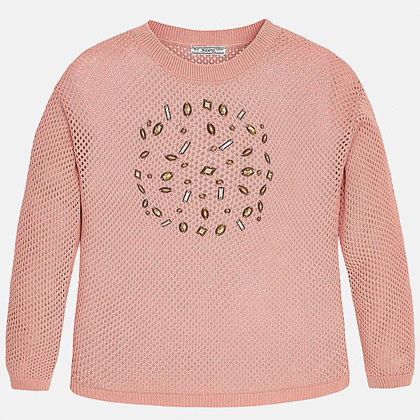 Свитер для девочки MayoralСвитера и кардиганы<br>Характеристики товара:<br><br>• цвет: розовый<br>• состав: 100% хлопок<br>• рукава длинные<br>• украшен бусинами<br>• горловой вырез округлый<br>• отделка краев<br>• страна бренда: Испания<br><br>Удобный и красивый свитер для девочки поможет разнообразить гардероб ребенка и украсить наряд. Он отлично сочетается и с юбками, и с брюками. Универсальный цвет позволяет подобрать к вещи низ различных расцветок. Интересная отделка модели делает её нарядной и оригинальной. <br><br>Одежда, обувь и аксессуары от испанского бренда Mayoral полюбились детям и взрослым по всему миру. Модели этой марки - стильные и удобные. Для их производства используются только безопасные, качественные материалы и фурнитура. Порадуйте ребенка модными и красивыми вещами от Mayoral! <br><br>Свитер для девочки от испанского бренда Mayoral (Майорал) можно купить в нашем интернет-магазине.<br>Ширина мм: 190; Глубина мм: 74; Высота мм: 229; Вес г: 236; Цвет: розовый; Возраст от месяцев: 132; Возраст до месяцев: 144; Пол: Женский; Возраст: Детский; Размер: 152,170,164,158,140,128/134; SKU: 5292762;