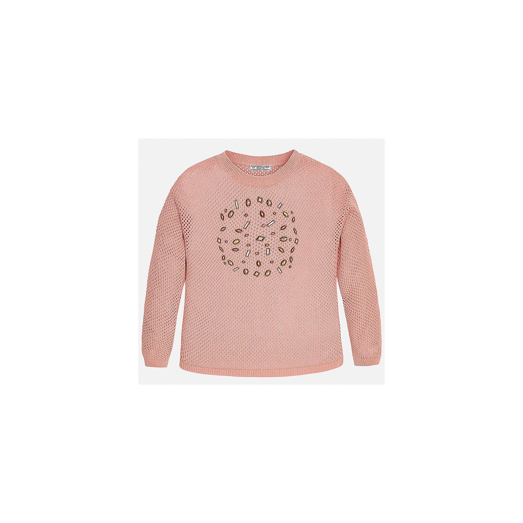 Свитер для девочки MayoralСвитера и кардиганы<br>Характеристики товара:<br><br>• цвет: розовый<br>• состав: 100% хлопок<br>• рукава длинные<br>• украшен бусинами<br>• горловой вырез округлый<br>• отделка краев<br>• страна бренда: Испания<br><br>Удобный и красивый свитер для девочки поможет разнообразить гардероб ребенка и украсить наряд. Он отлично сочетается и с юбками, и с брюками. Универсальный цвет позволяет подобрать к вещи низ различных расцветок. Интересная отделка модели делает её нарядной и оригинальной. <br><br>Одежда, обувь и аксессуары от испанского бренда Mayoral полюбились детям и взрослым по всему миру. Модели этой марки - стильные и удобные. Для их производства используются только безопасные, качественные материалы и фурнитура. Порадуйте ребенка модными и красивыми вещами от Mayoral! <br><br>Свитер для девочки от испанского бренда Mayoral (Майорал) можно купить в нашем интернет-магазине.<br><br>Ширина мм: 190<br>Глубина мм: 74<br>Высота мм: 229<br>Вес г: 236<br>Цвет: розовый<br>Возраст от месяцев: 168<br>Возраст до месяцев: 180<br>Пол: Женский<br>Возраст: Детский<br>Размер: 170,152,128/134,140,158,164<br>SKU: 5292762